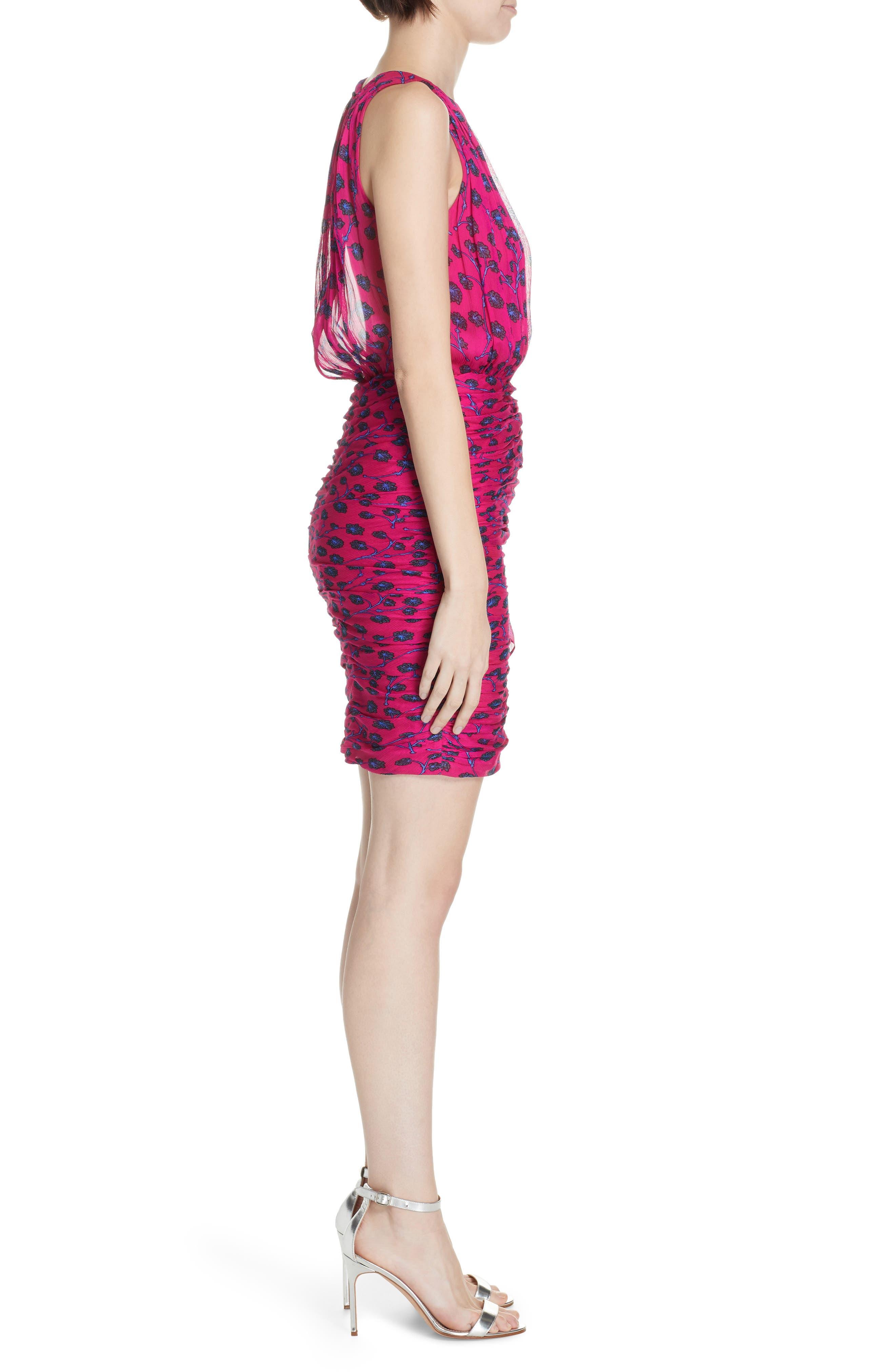 Micah Ruched Blouson Dress,                             Alternate thumbnail 3, color,                             DRAGON BERRY DITSY PINK