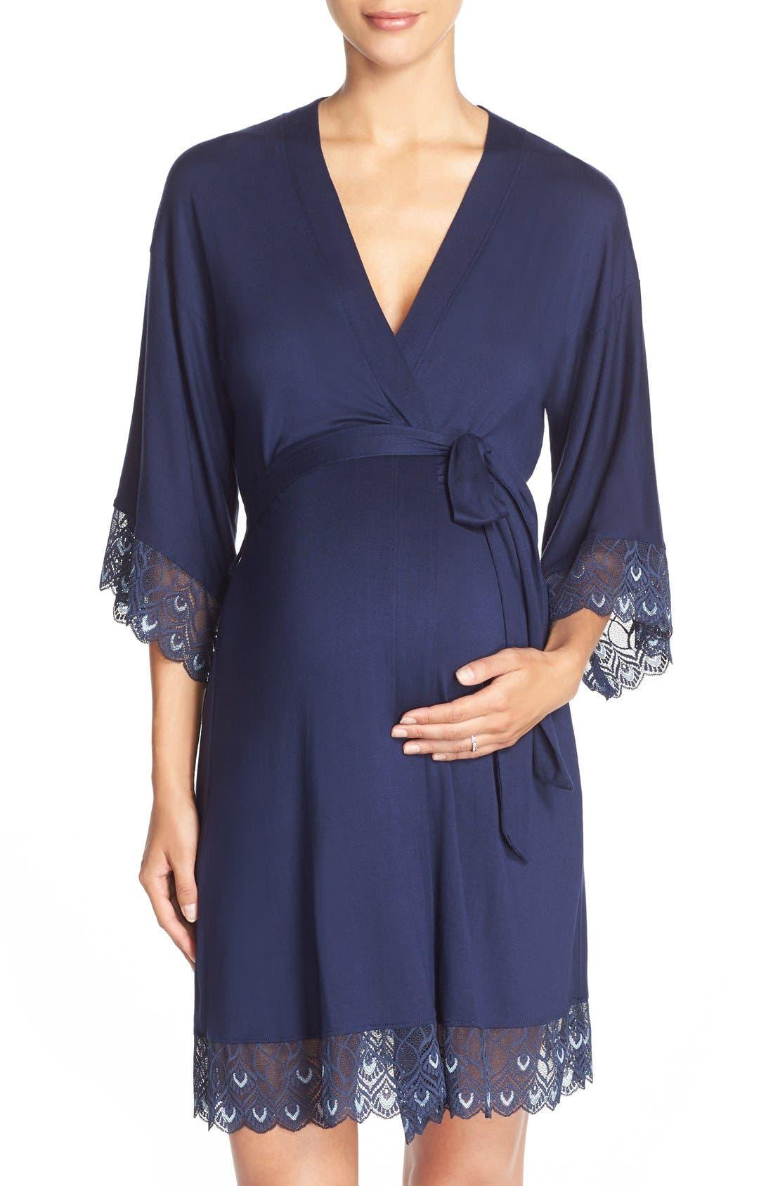 'Tallulah' Maternity Jersey Robe,                             Main thumbnail 1, color,