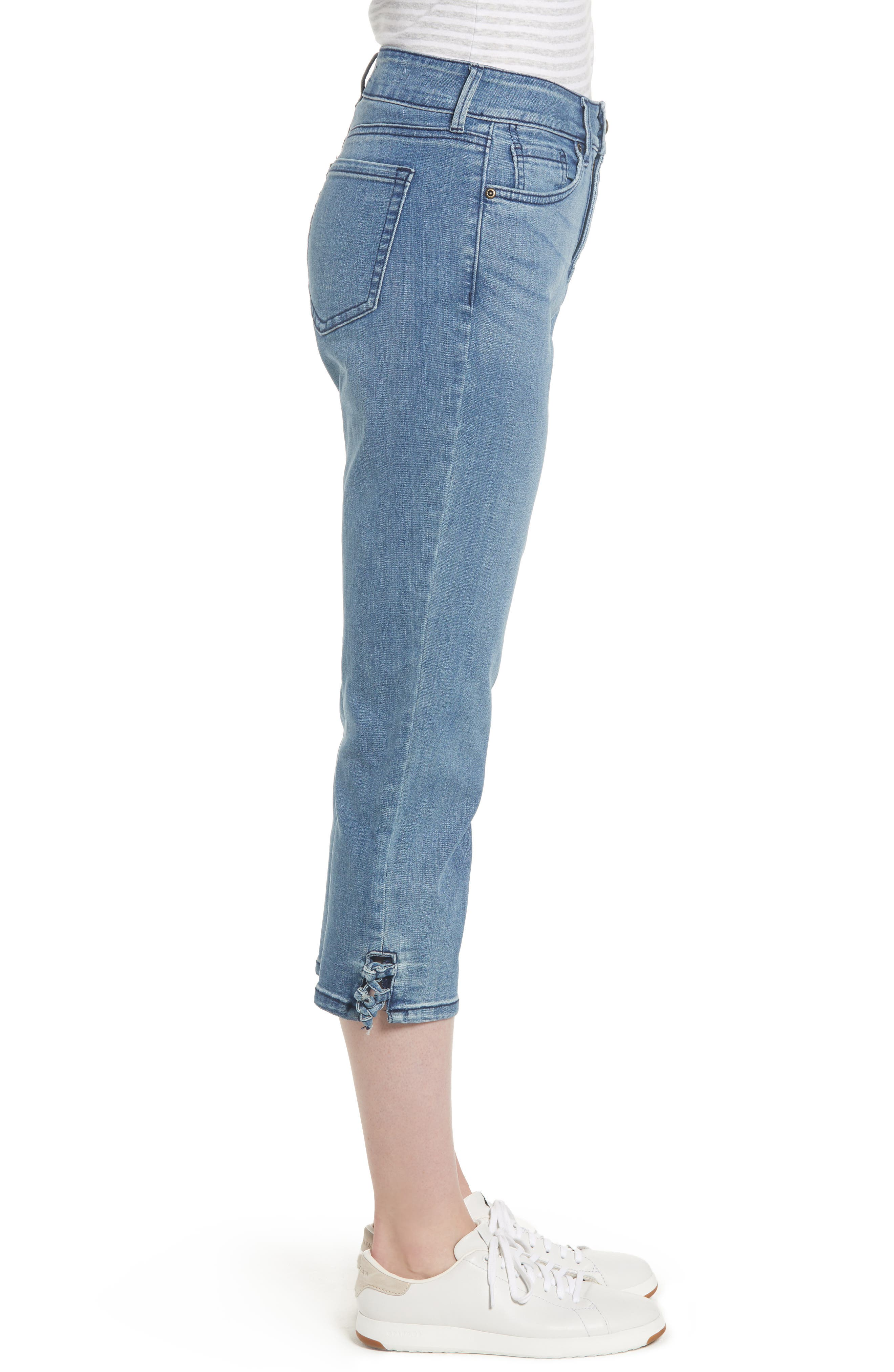 High Waist Lace Up Hem Capri Jeans,                             Alternate thumbnail 3, color,                             417