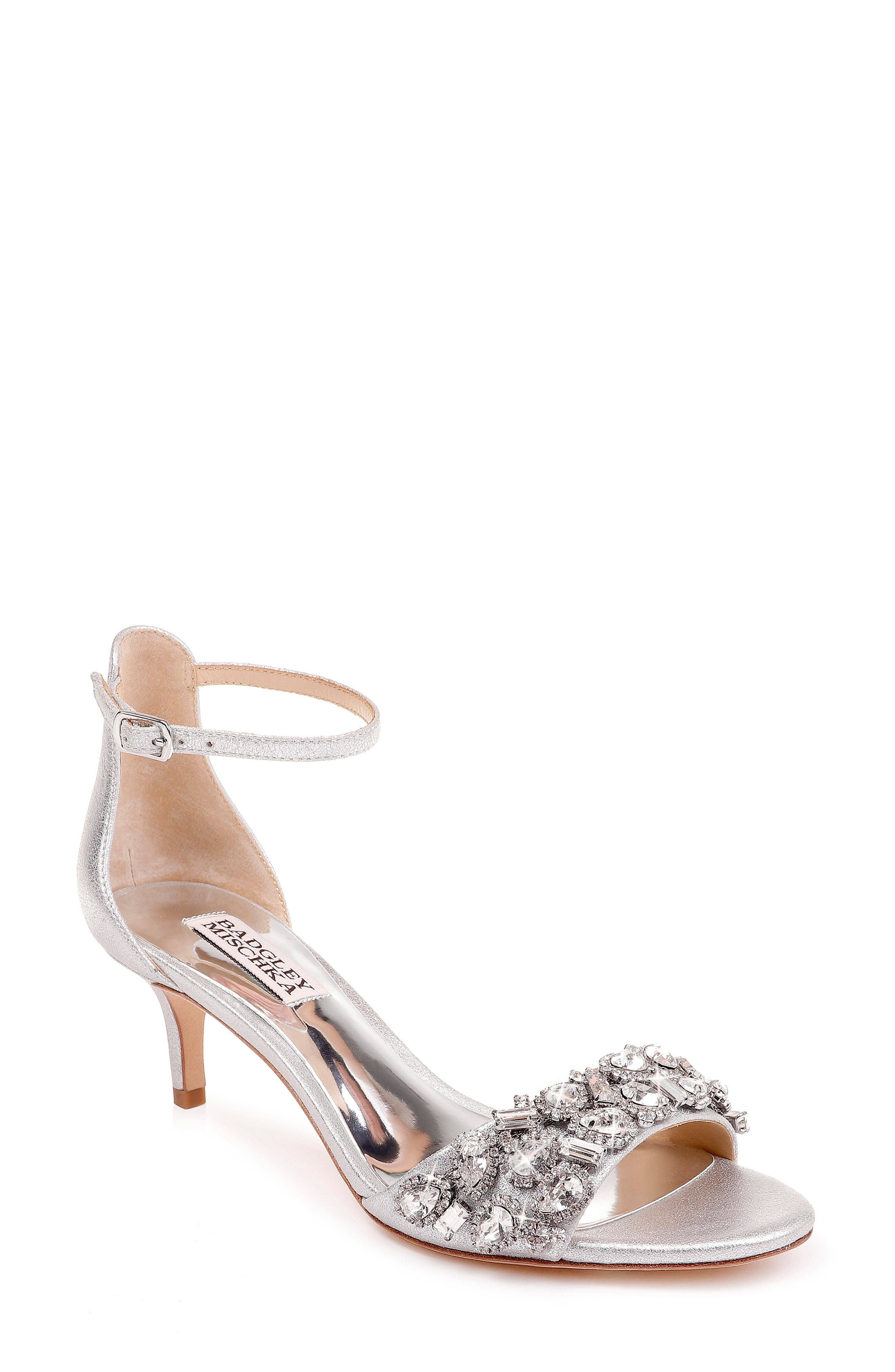 Badgley Mischka Lara Crystal Embellished Sandal- Metallic