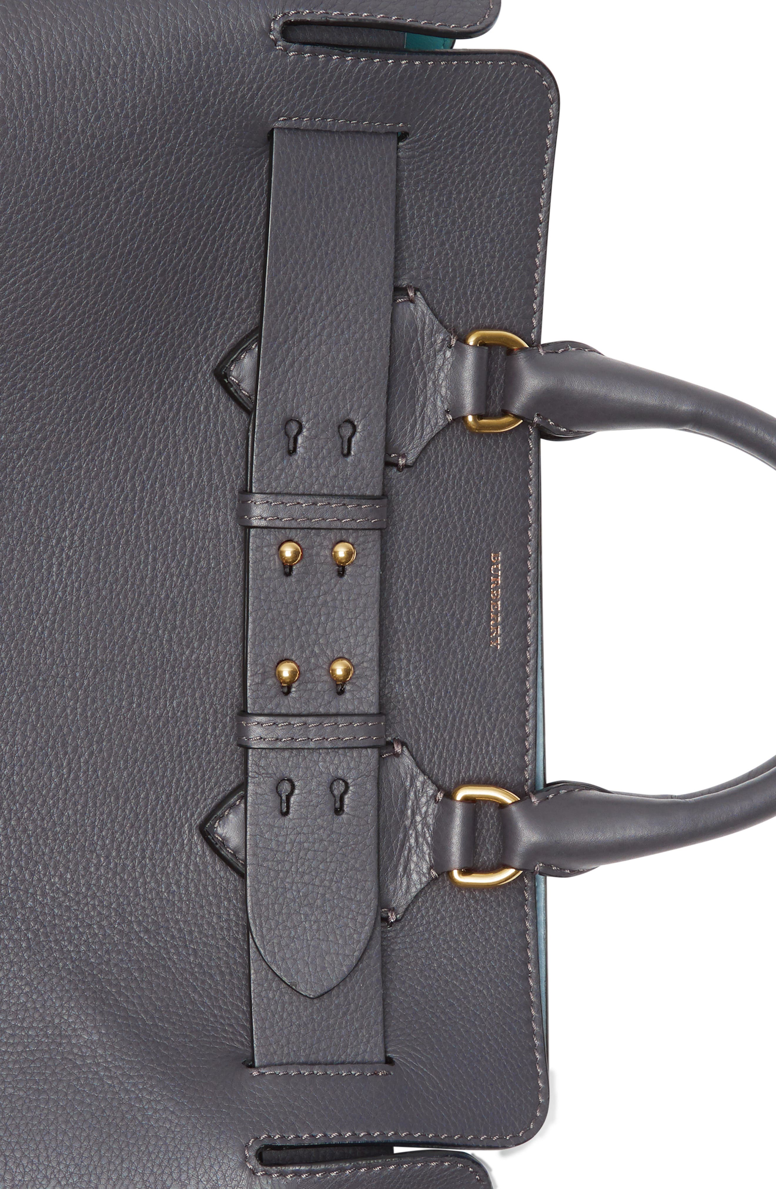 Medium Leather Belted Bag,                             Alternate thumbnail 8, color,                             CHARCOAL GREY