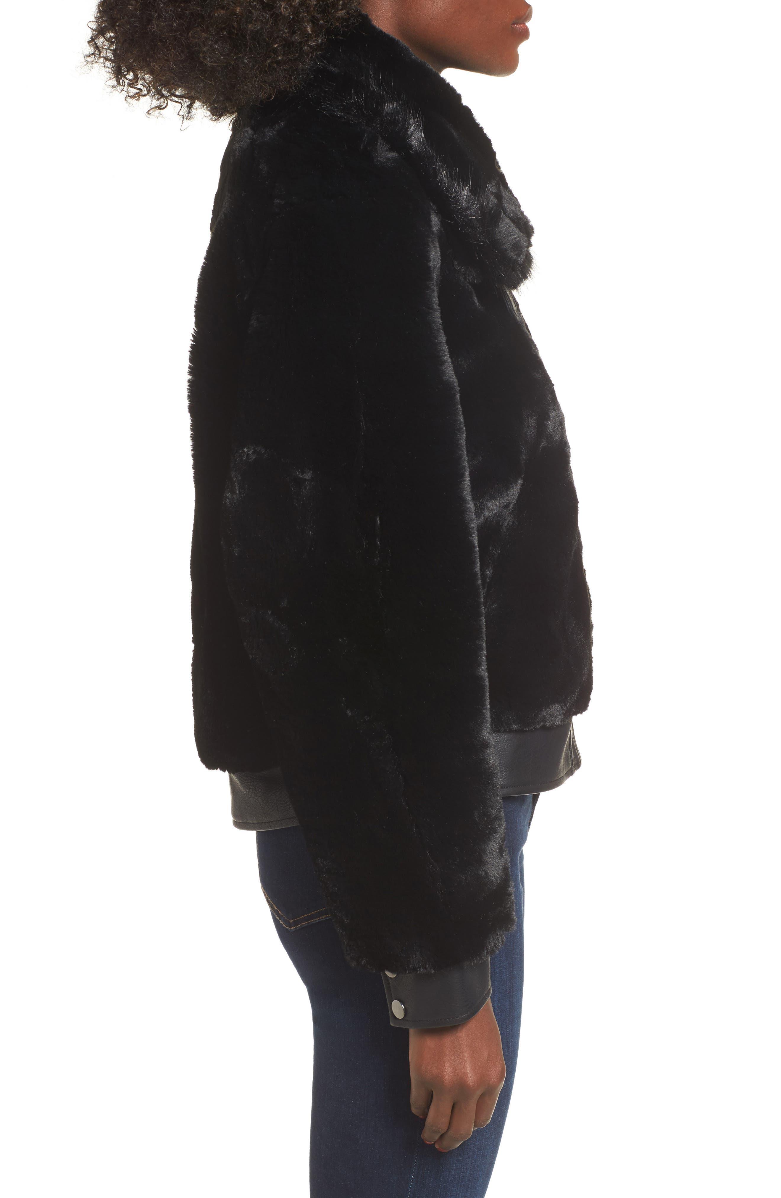 Faux Fur Jacket,                             Alternate thumbnail 3, color,                             BLACK NOISE