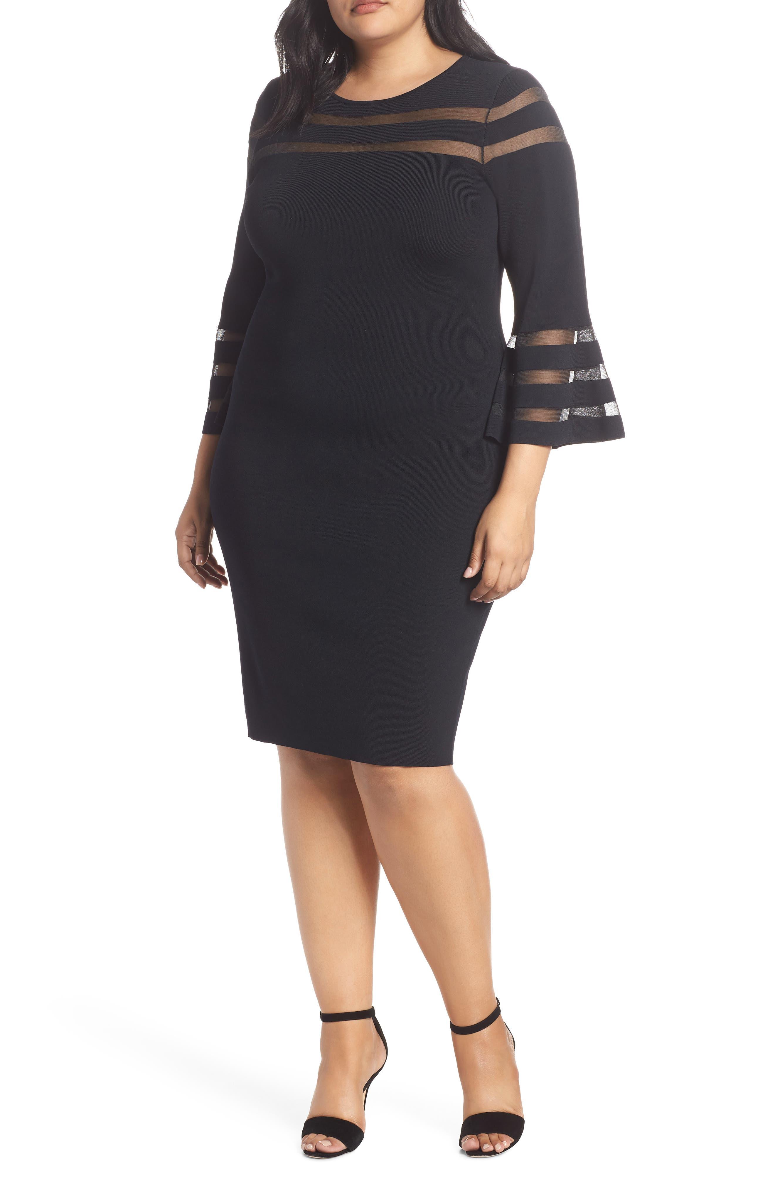 Plus Size Eliza J Mesh Stripe Sheath Dress, Black