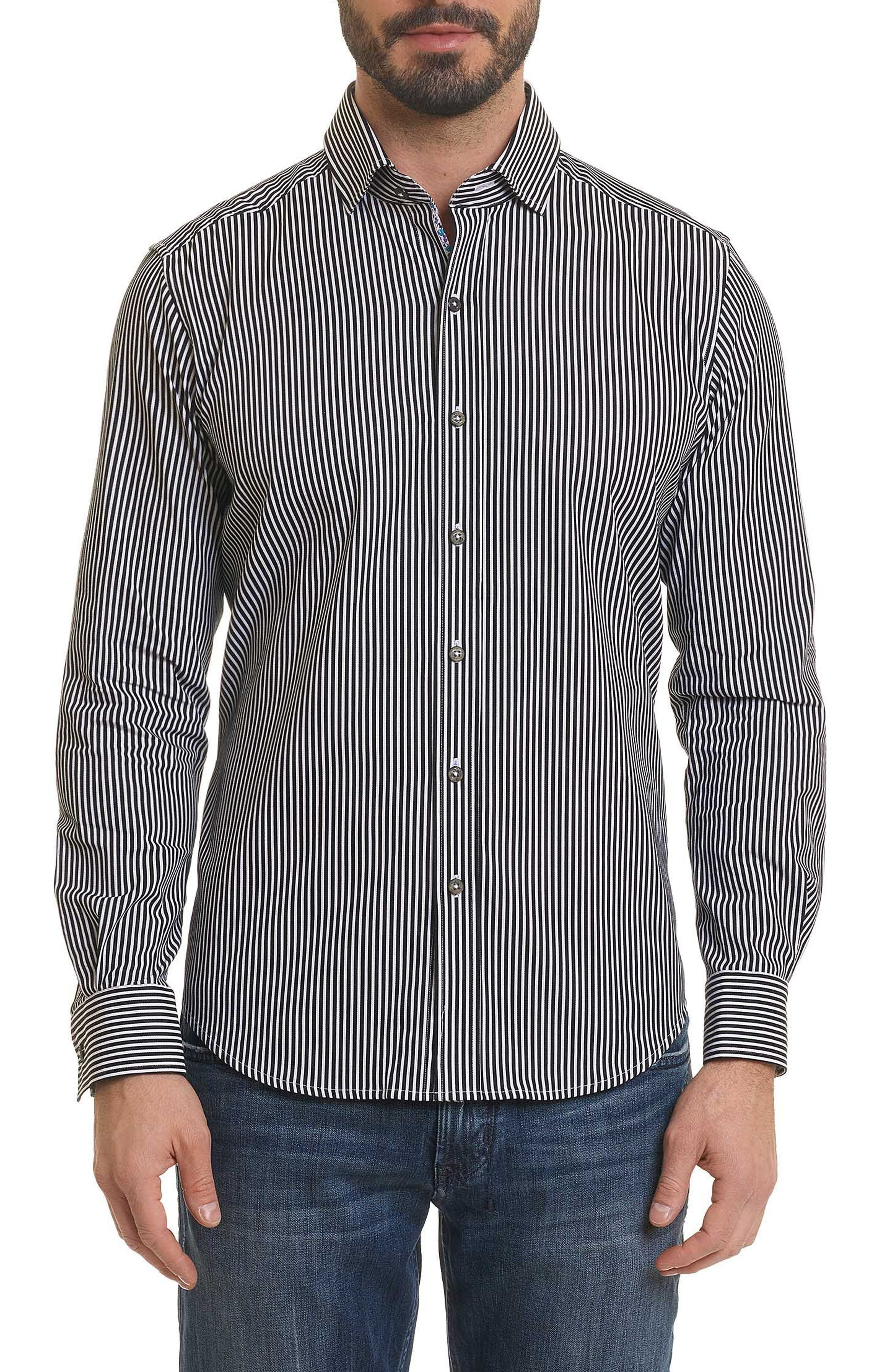 Luther Classic Fit Stripe Sport Shirt,                         Main,                         color, BLACK