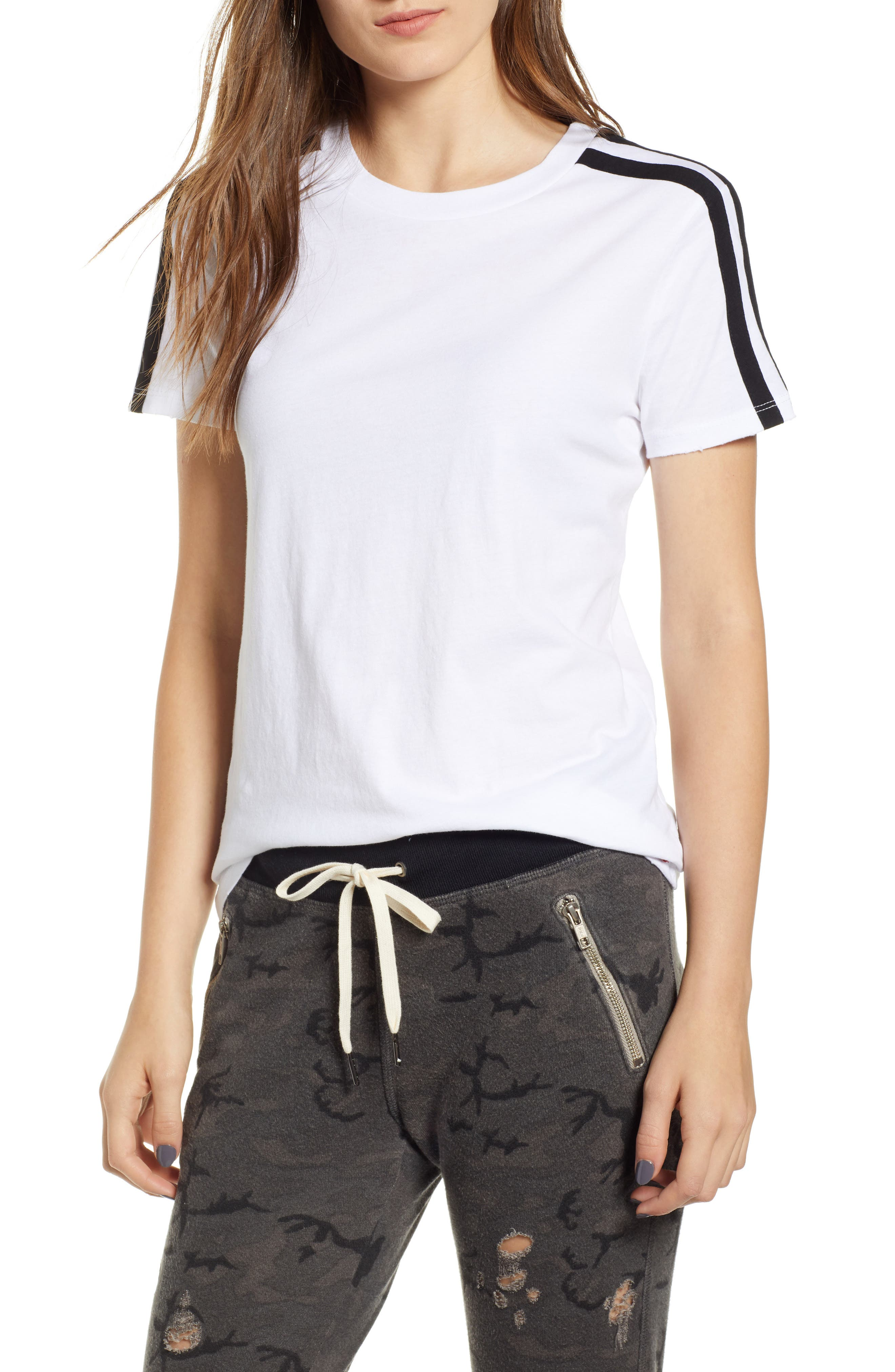 N:philanthropy Kenya Stripe Shoulder Tee, White