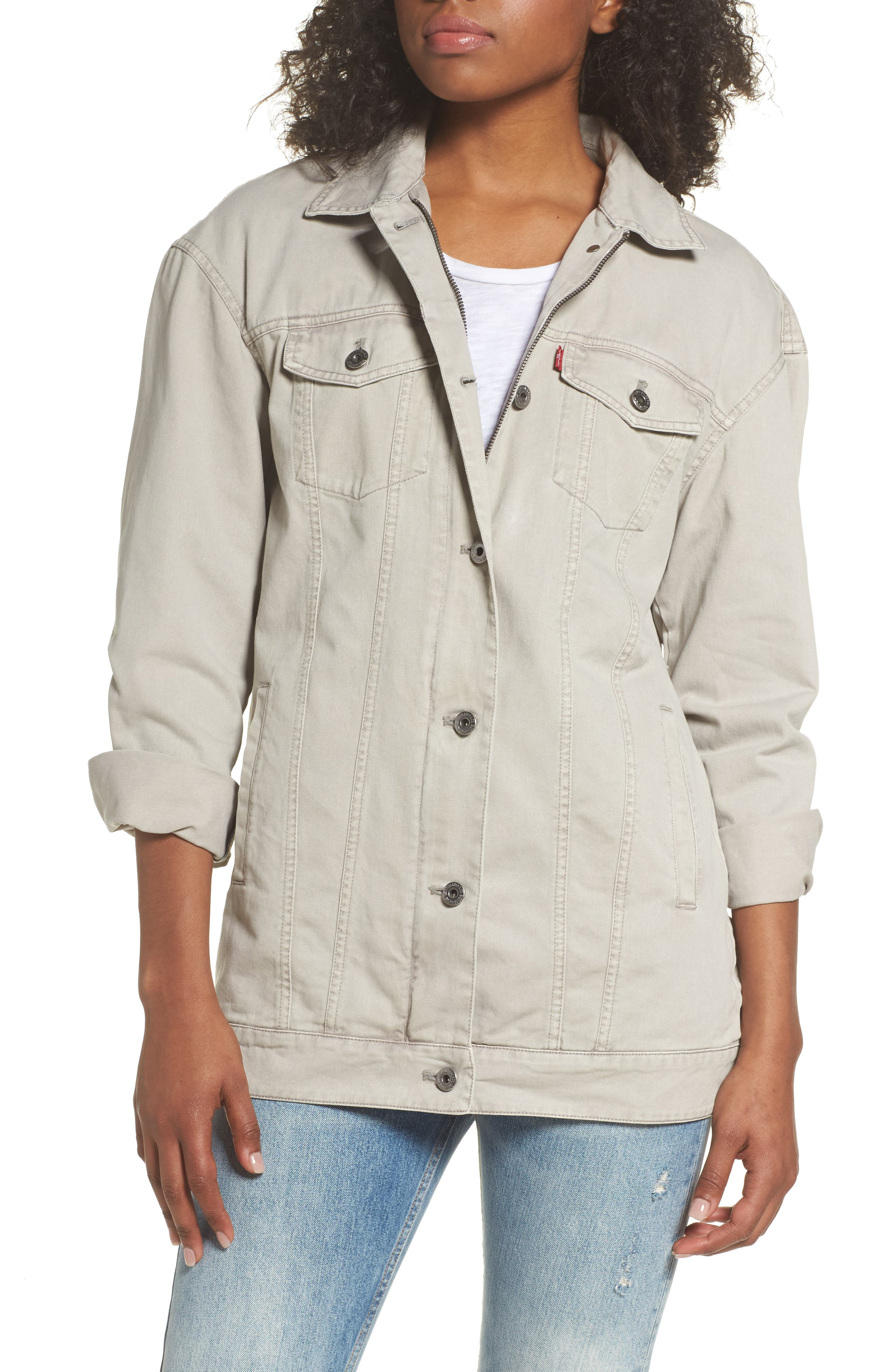 Oversize Cotton Canvas Trucker Jacket,                             Main thumbnail 1, color,                             030