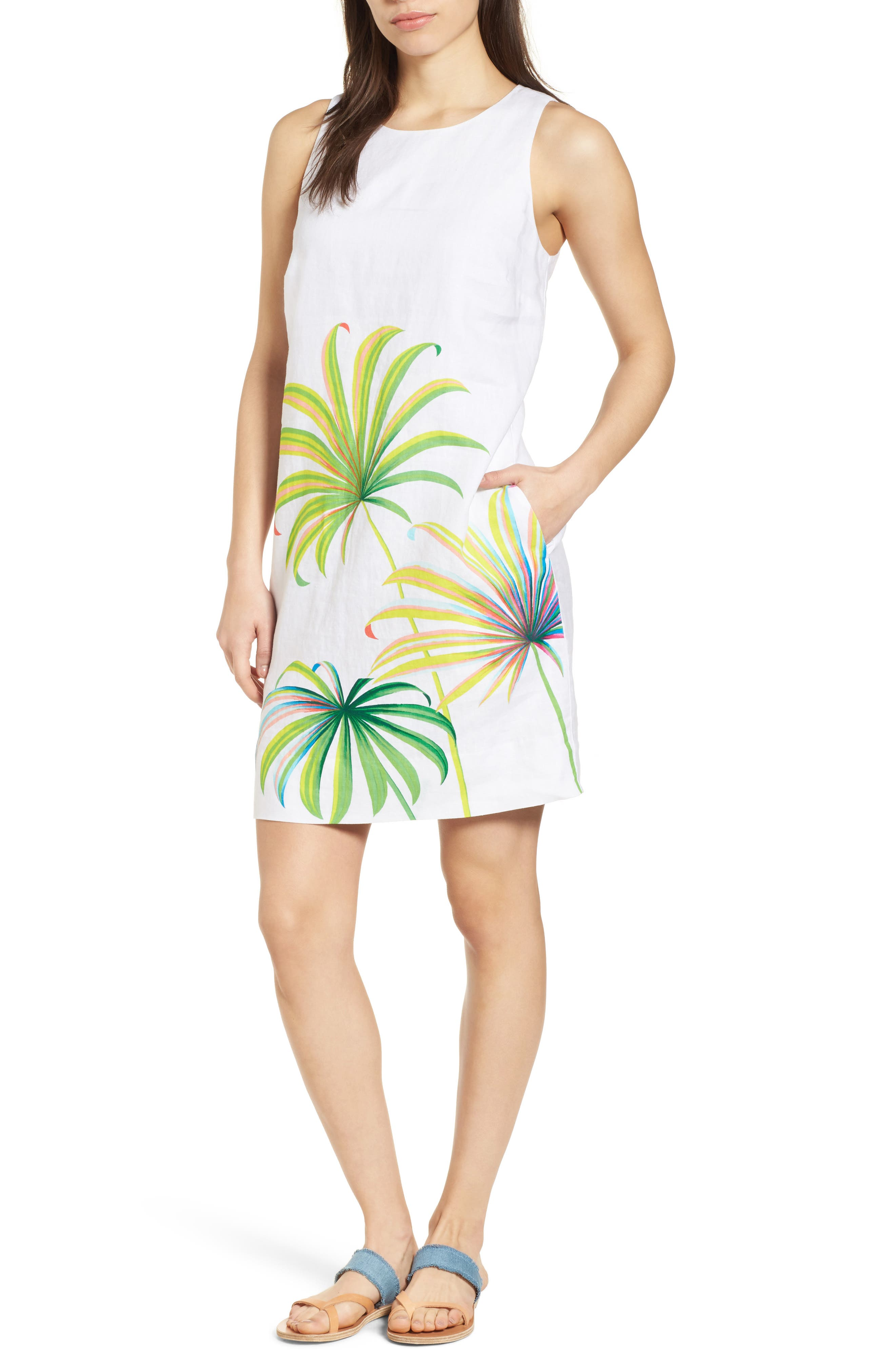 Cricue de Palm Shift Dress,                         Main,                         color, WHITE