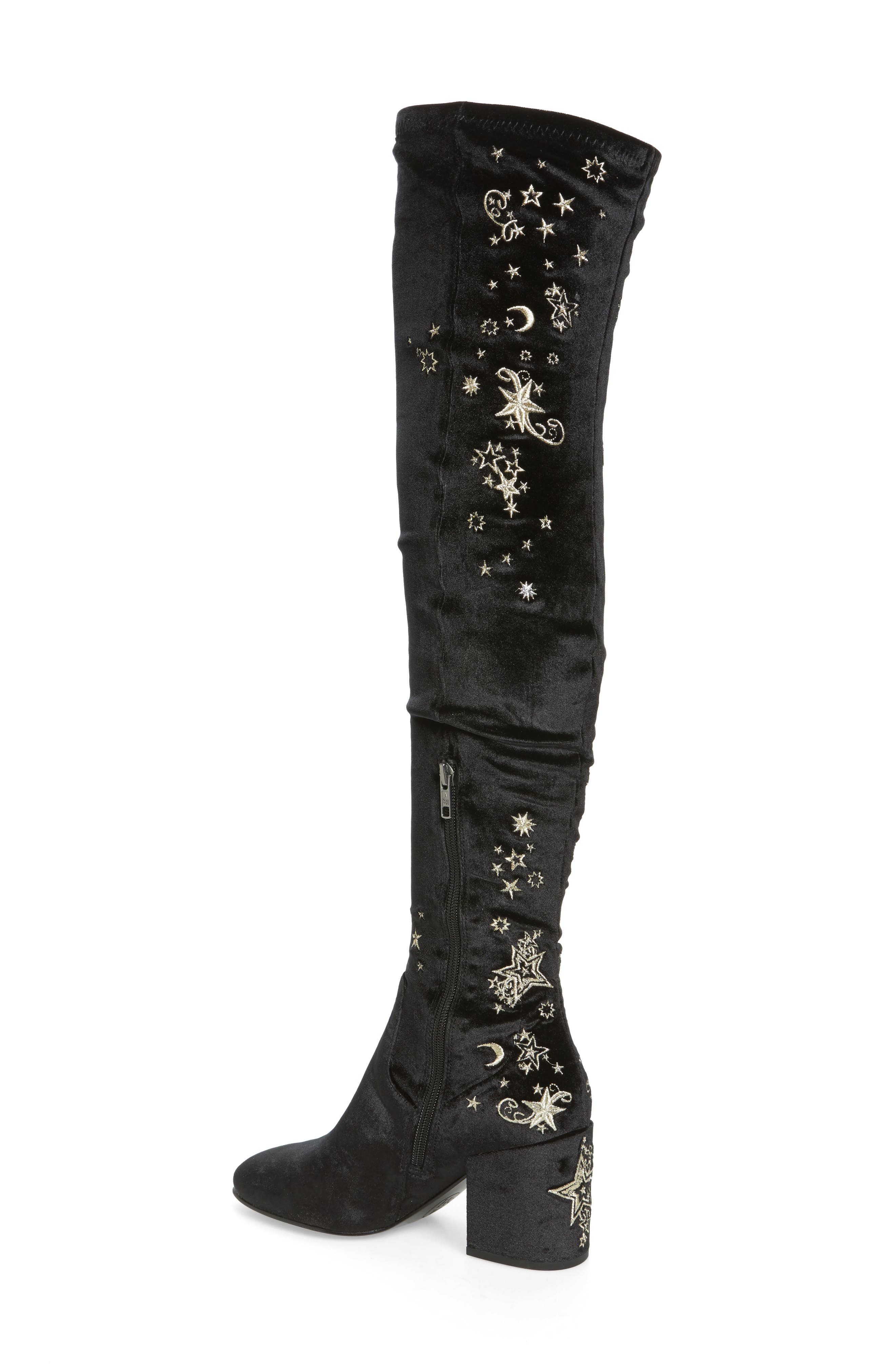Eros Embroidered Velvet Over the Knee Boot,                             Alternate thumbnail 2, color,                             001