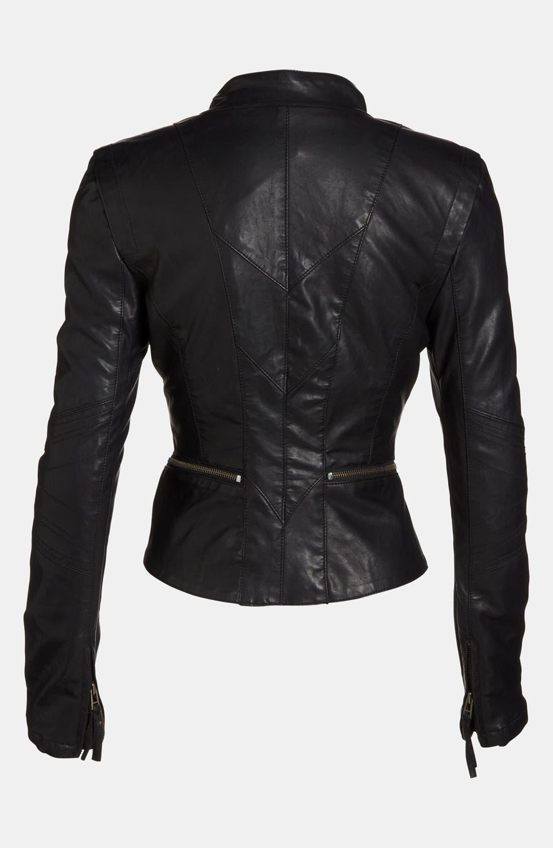 Faux Leather Jacket,                             Alternate thumbnail 2, color,                             001