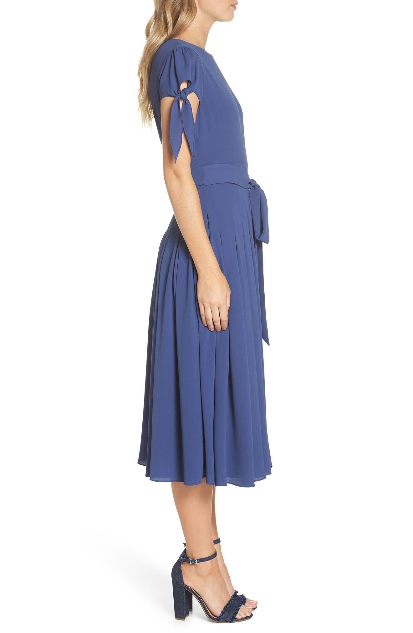 Bette Pleated Midi Dress,                             Alternate thumbnail 3, color,                             405
