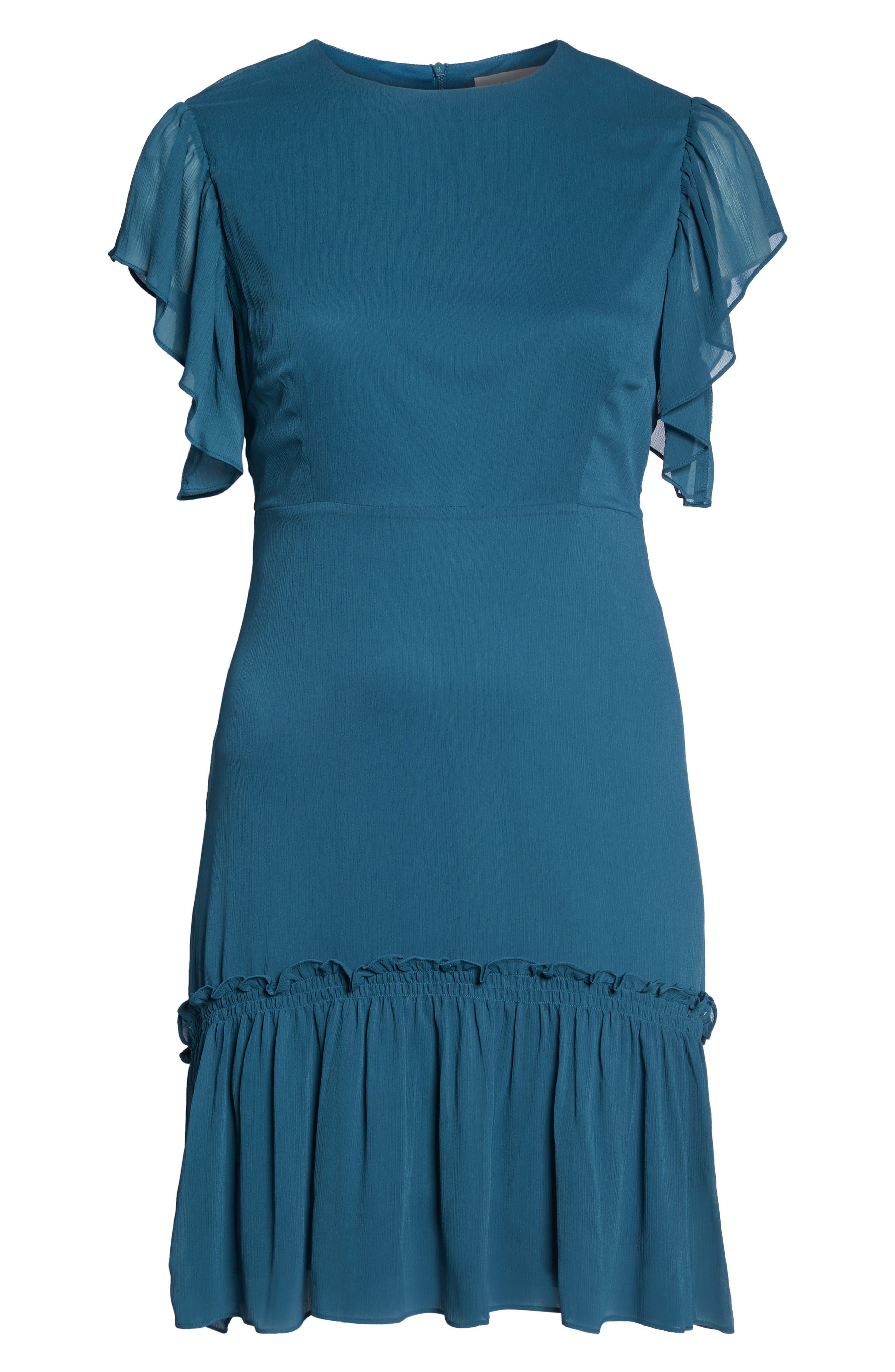 Ruffled High/Low A-Line Dress,                             Alternate thumbnail 6, color,                             300