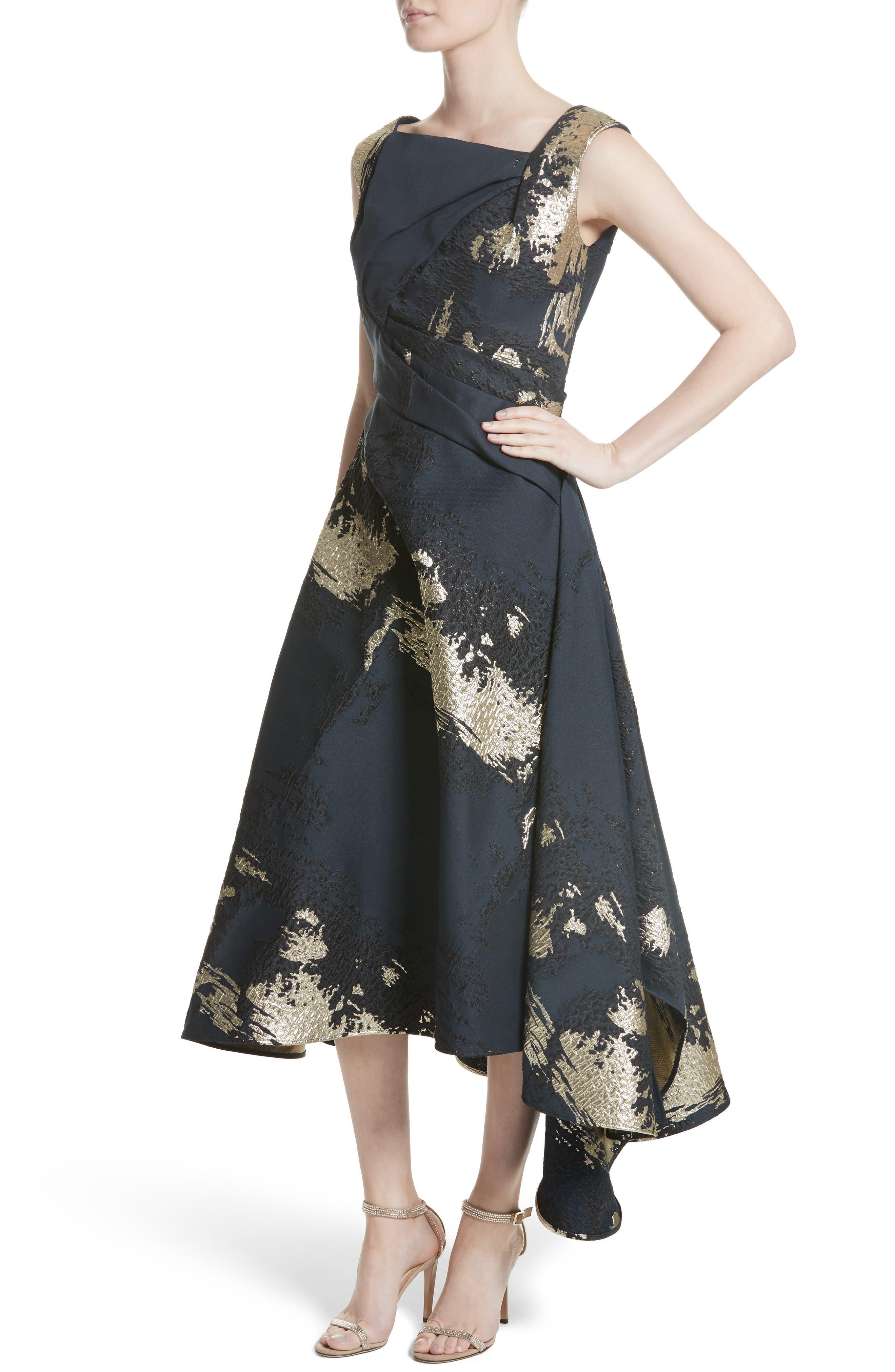 Jacquard Draped Asymmetrical Dress,                             Alternate thumbnail 4, color,                             410