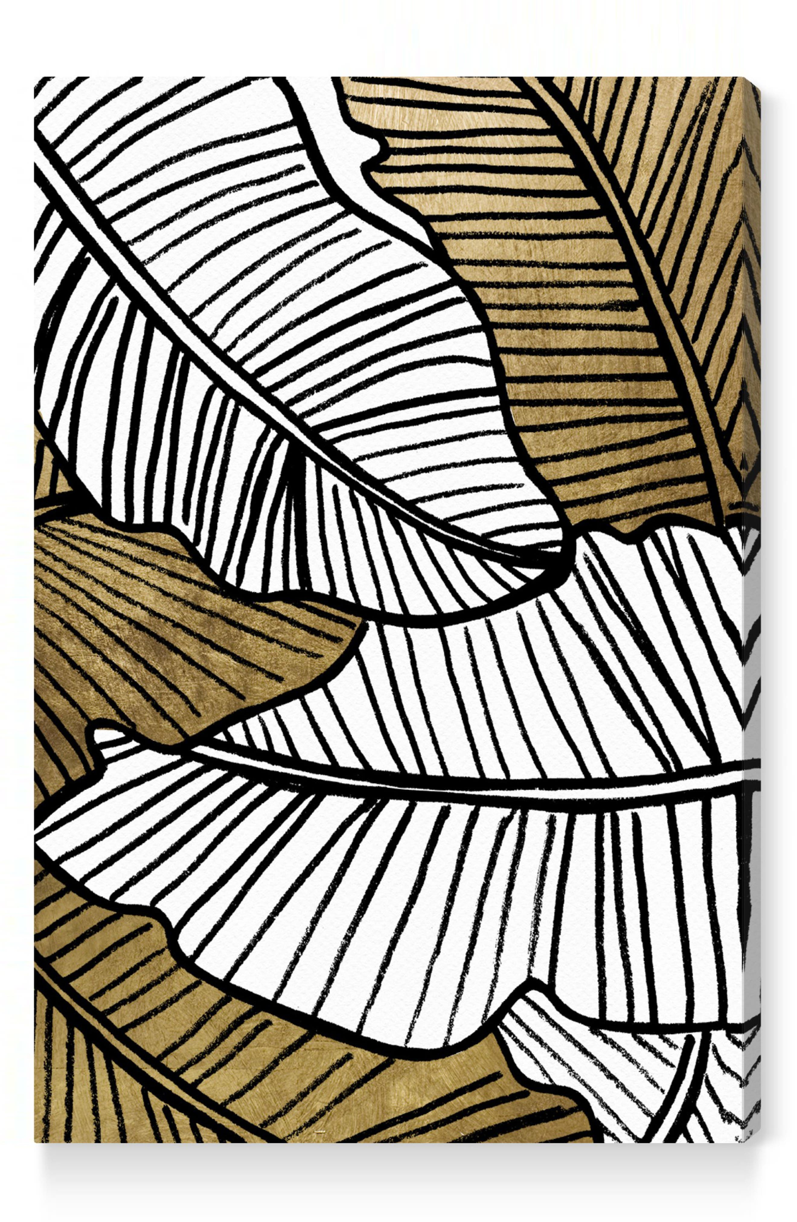 Golden Leaf Canvas Wall Art,                             Main thumbnail 1, color,                             BLACK WHITE GOLD