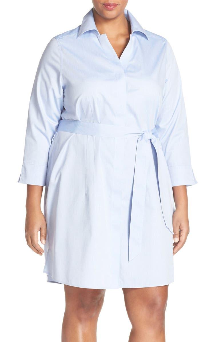 1235044169e Foxcroft  Taylor  Non Iron Poplin Shirtdress (Plus Size)