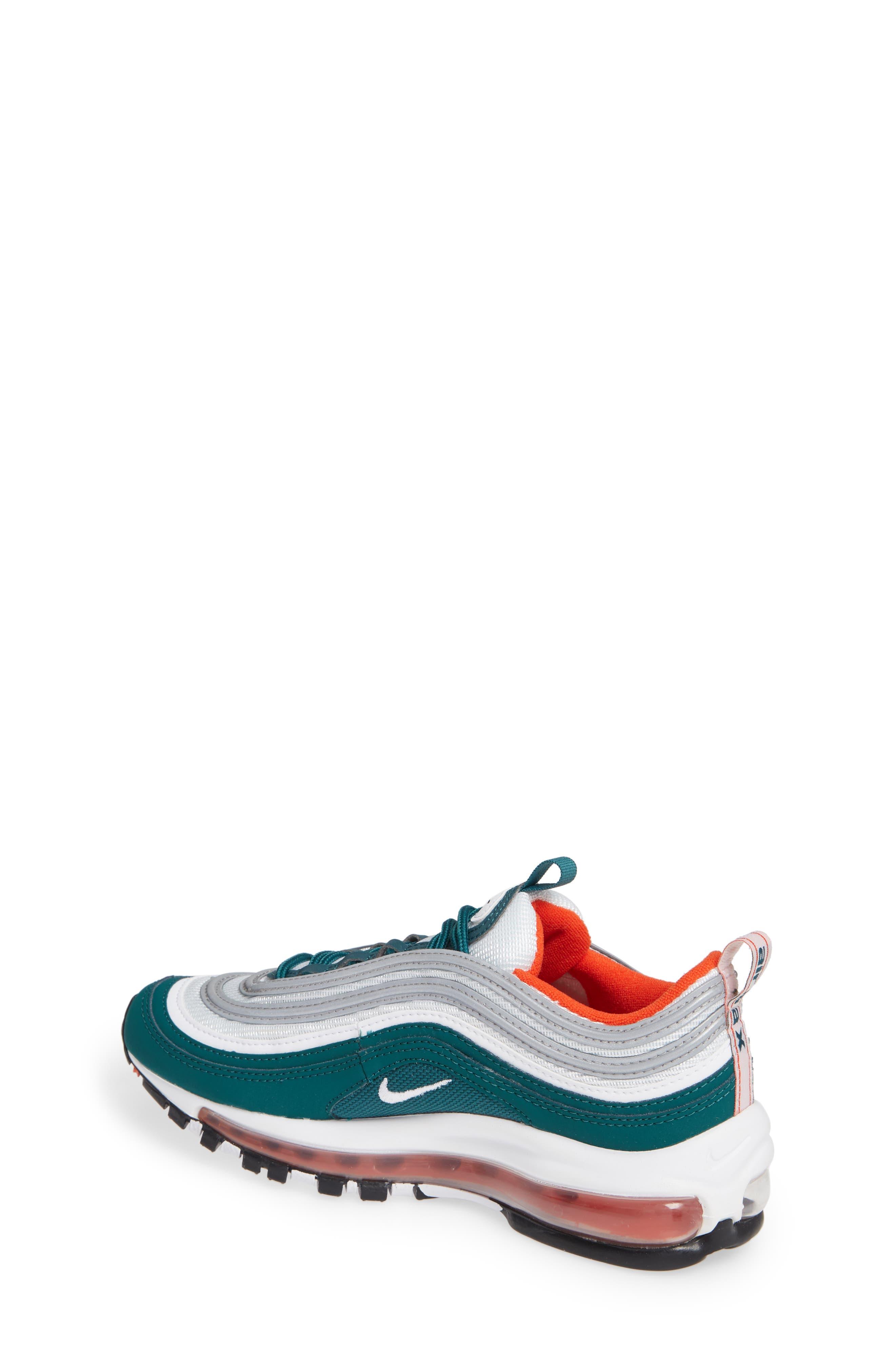 NIKE,                             Air Max 97 Sneaker,                             Alternate thumbnail 2, color,                             RAINFOREST/ WHITE/ ORANGE