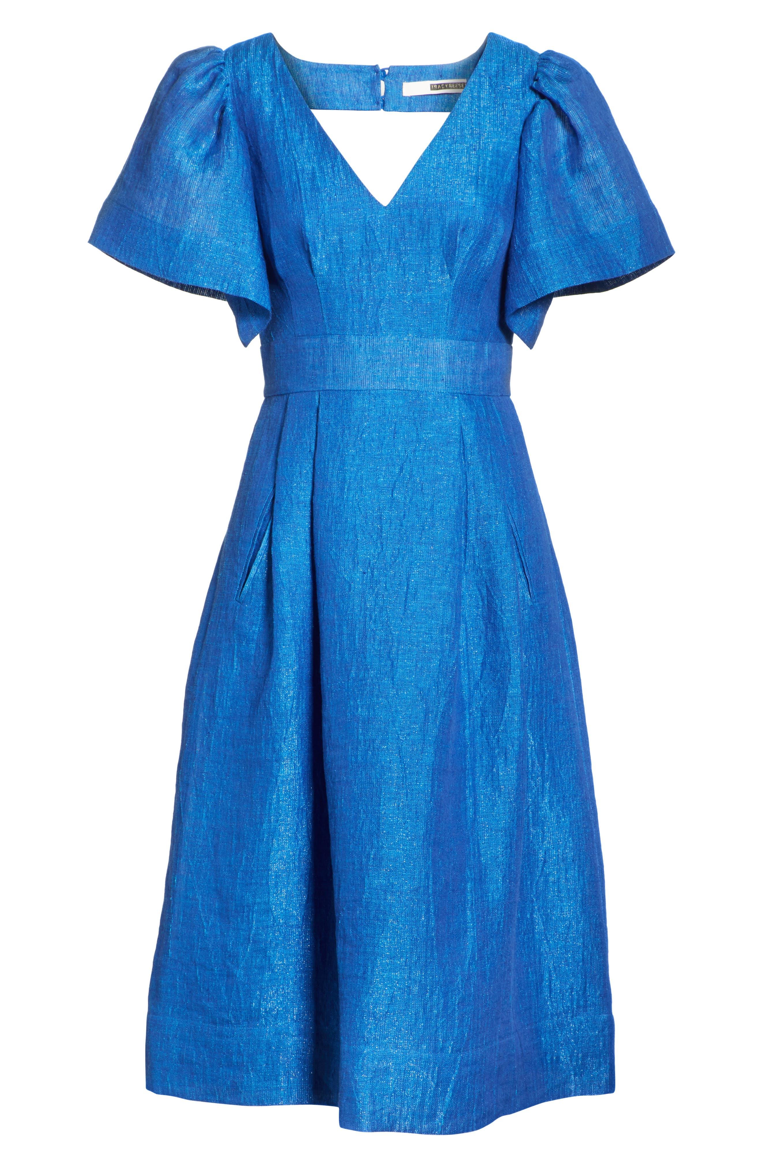 Open Sleeve Backless Linen Blend Dress,                             Alternate thumbnail 6, color,                             409
