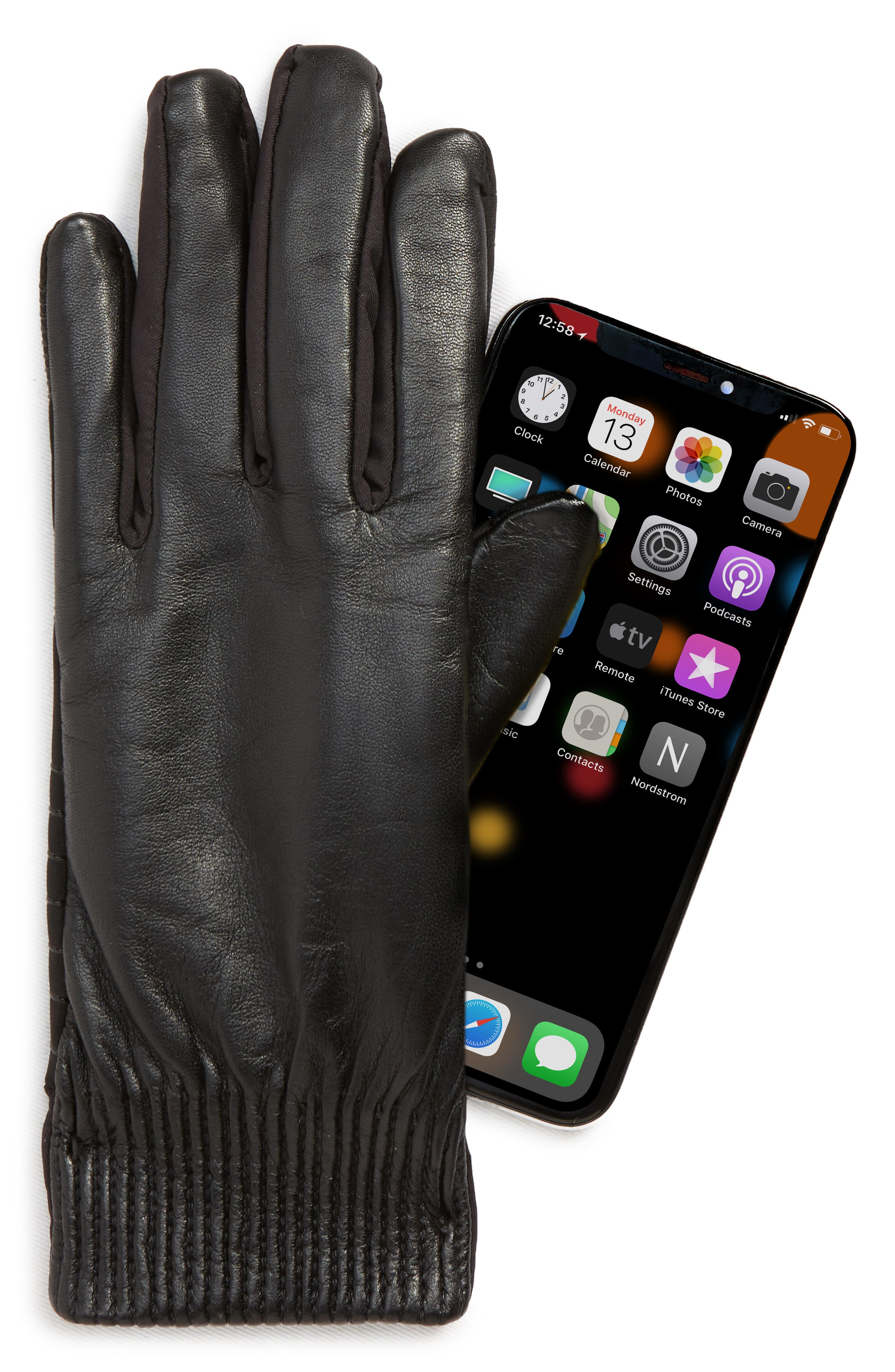 U|R,                             Leather Touchscreen Compatible Gloves,                             Alternate thumbnail 2, color,                             001