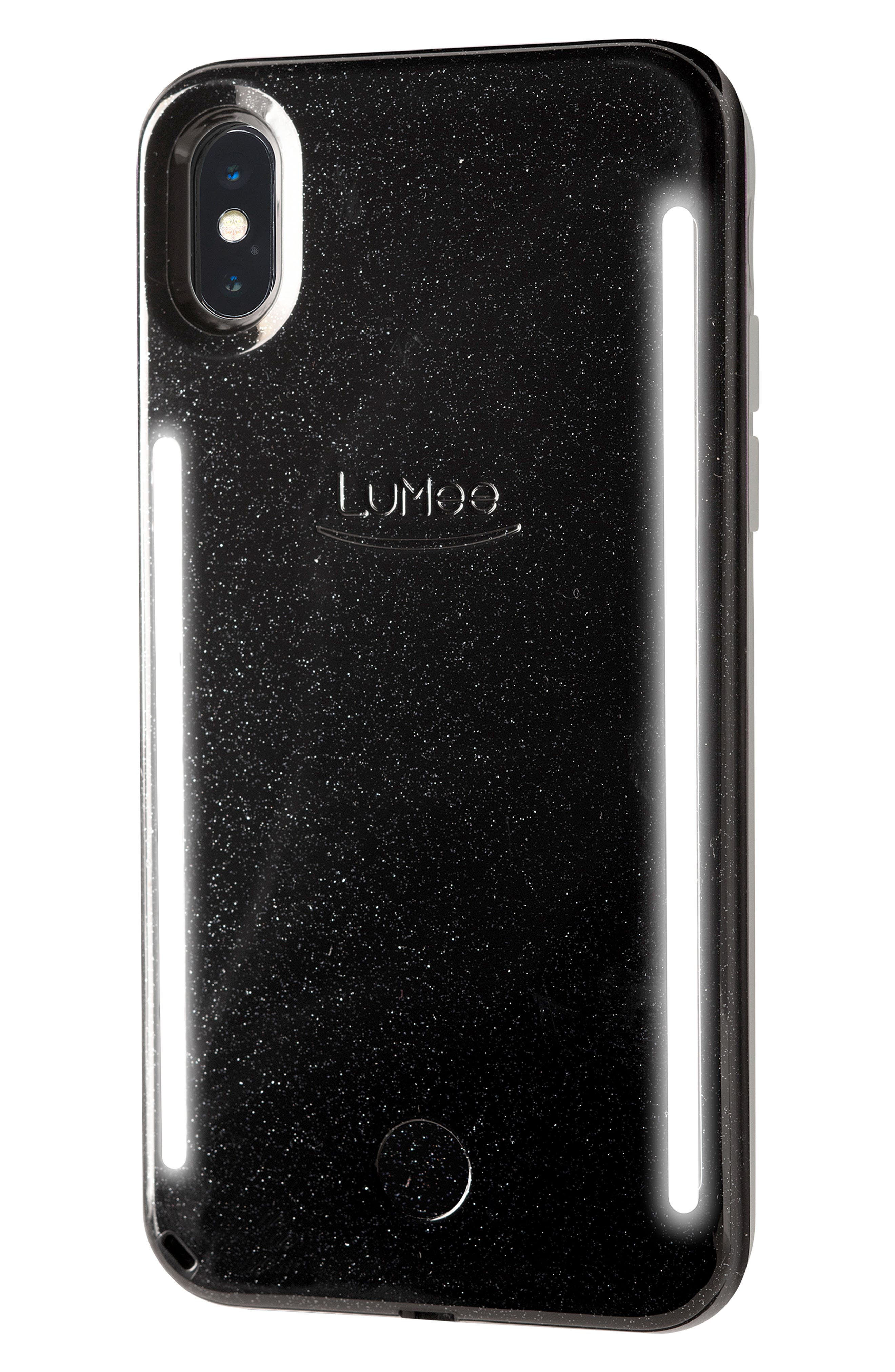 LUMEE,                             Duo LED Lighted iPhone X/Xs, XR & X Max Case,                             Alternate thumbnail 3, color,                             BLACK GLITTER
