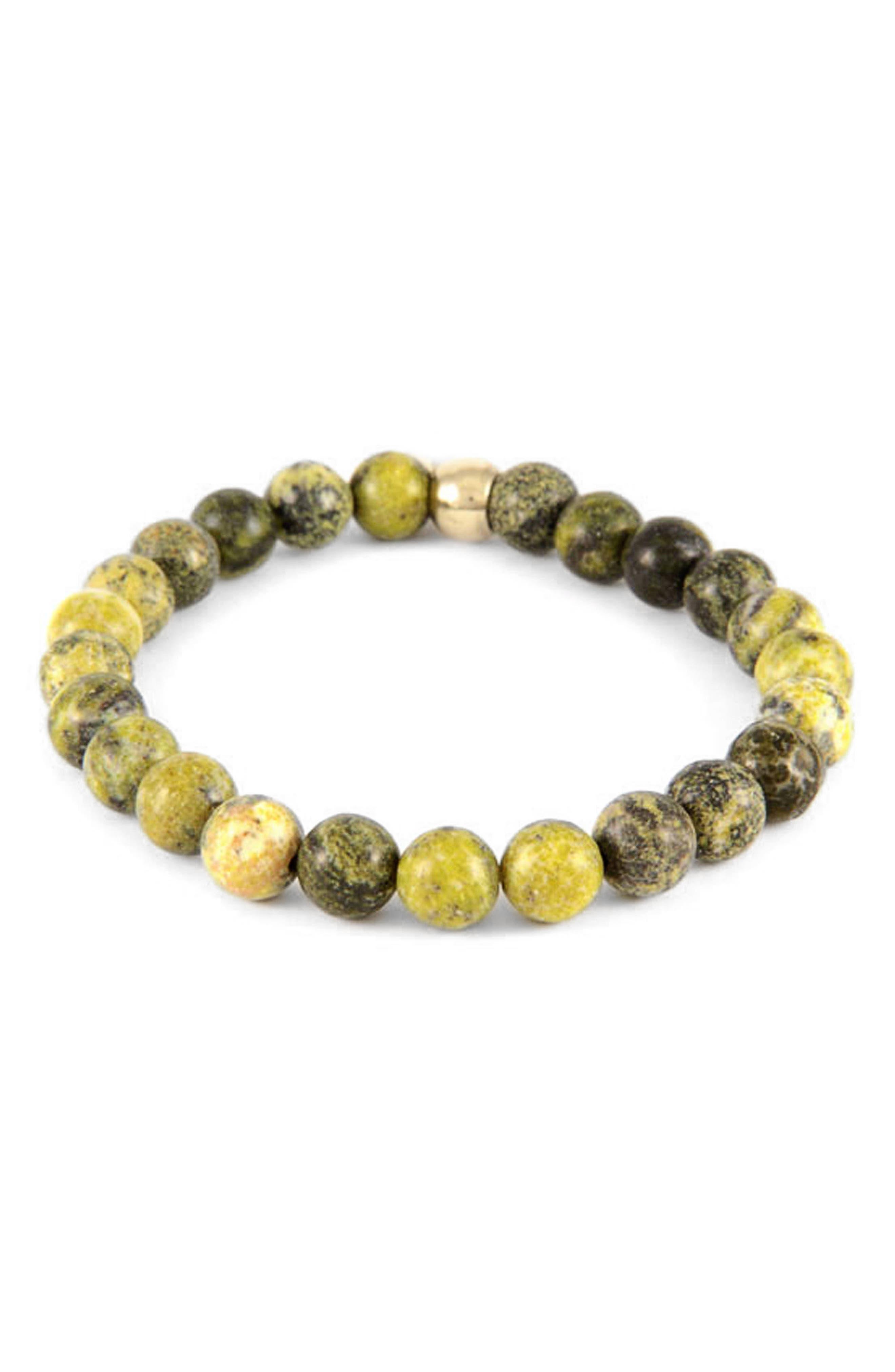 Yellow Turquoise Bead Bracelet,                             Alternate thumbnail 2, color,                             DARK YELLOW