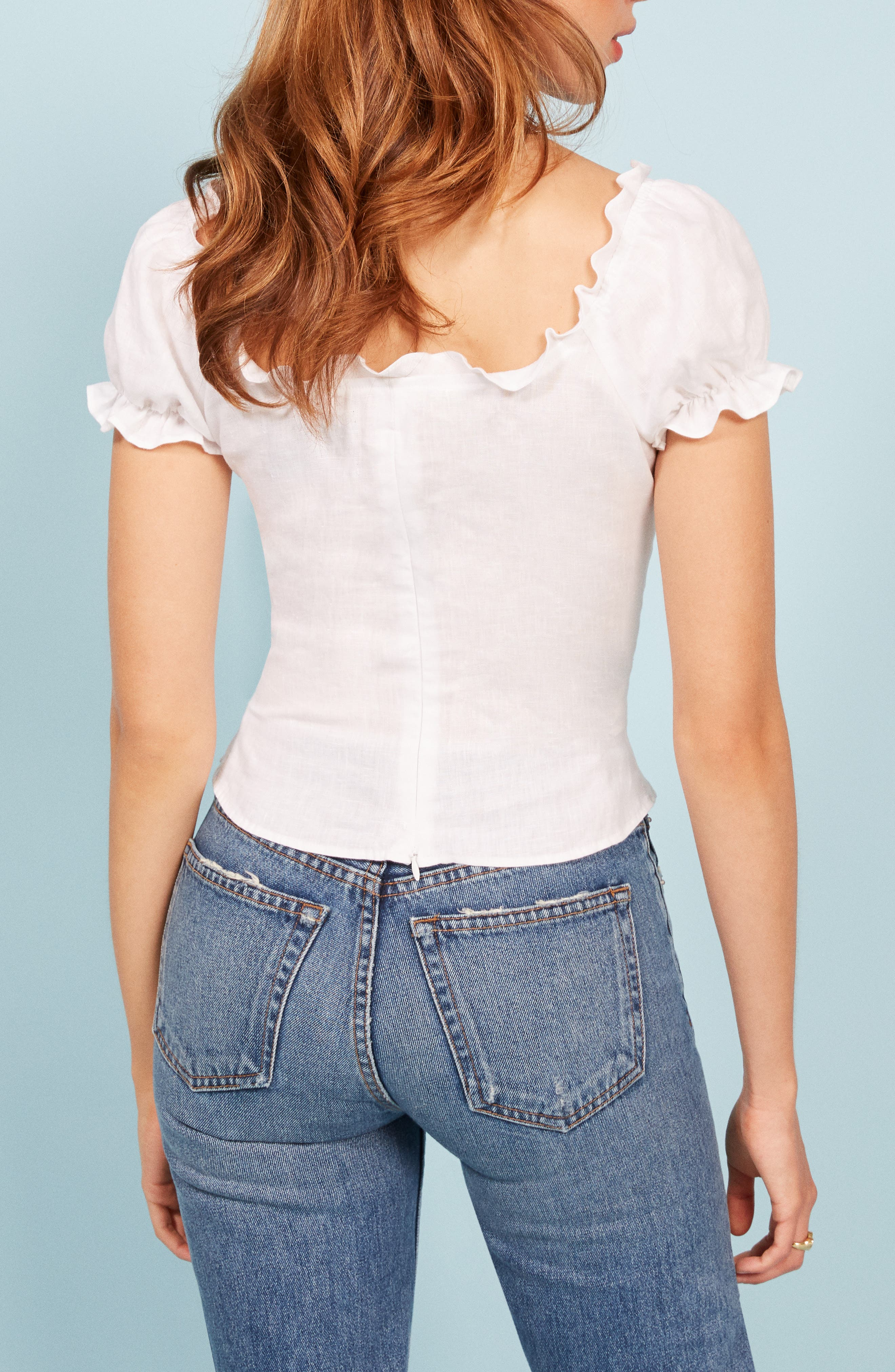 REFORMATION,                             Cassidy Corset Top,                             Alternate thumbnail 3, color,                             100