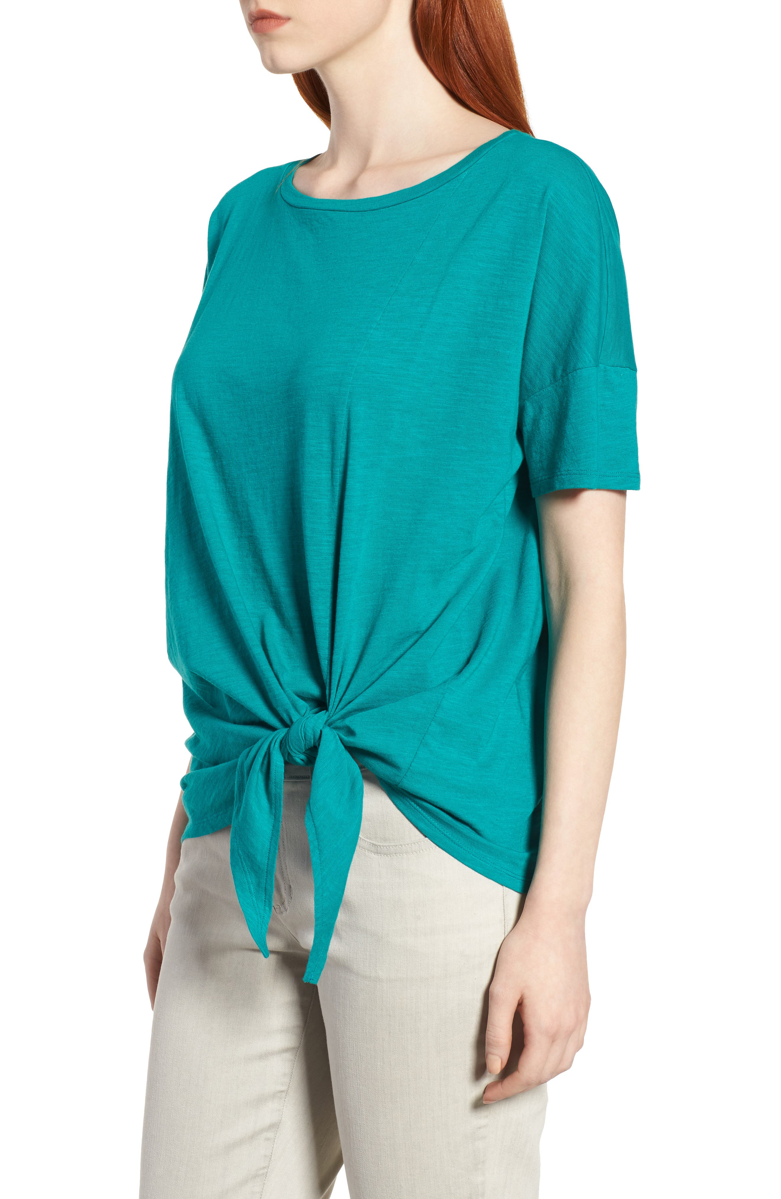 Tie Hem Organic Cotton Tee,                             Alternate thumbnail 15, color,
