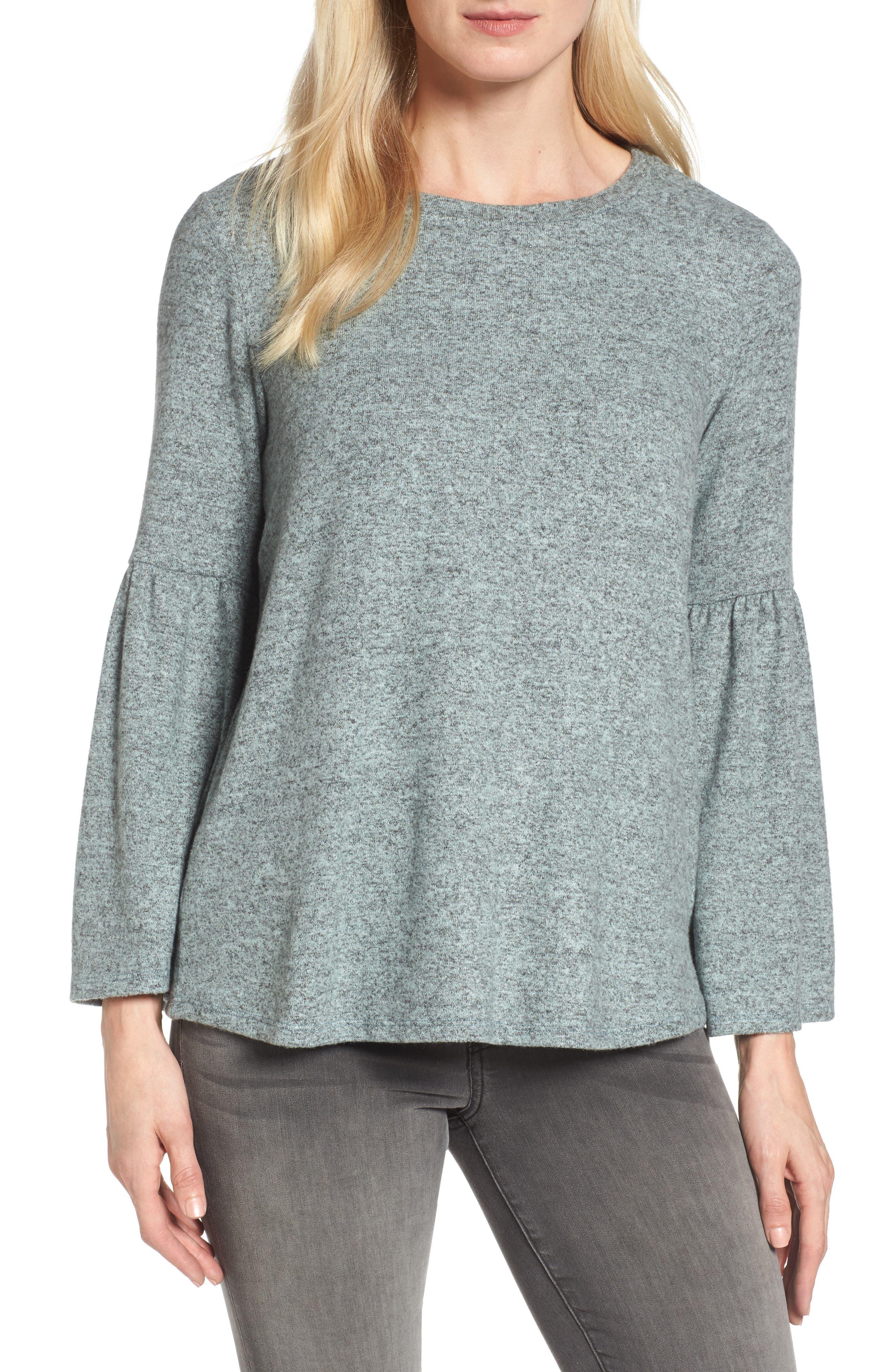 Bell Sleeve Cozy Fleece Pullover,                             Main thumbnail 2, color,