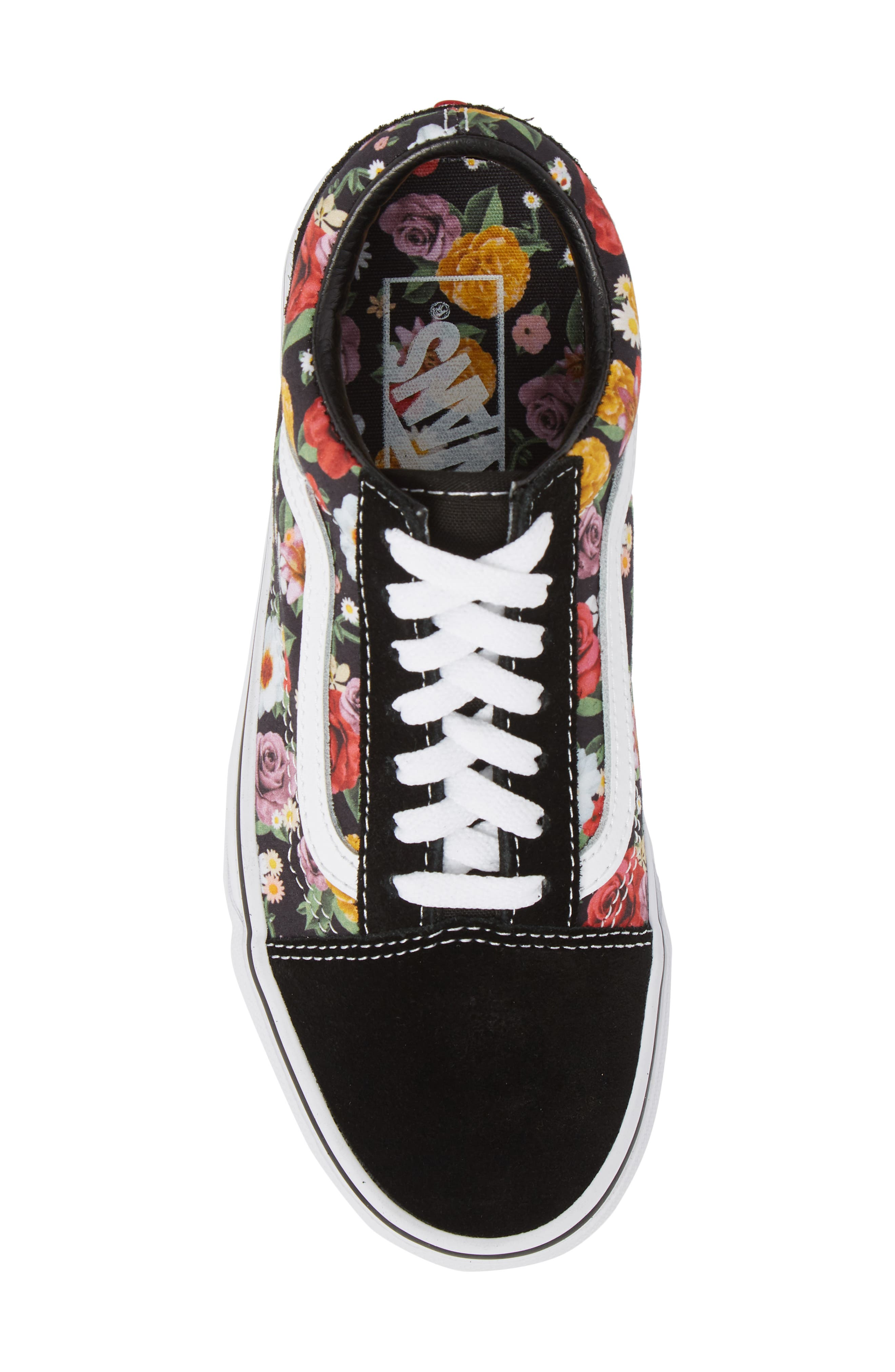 UA Old Skool Lux Floral Sneaker,                             Alternate thumbnail 5, color,                             001