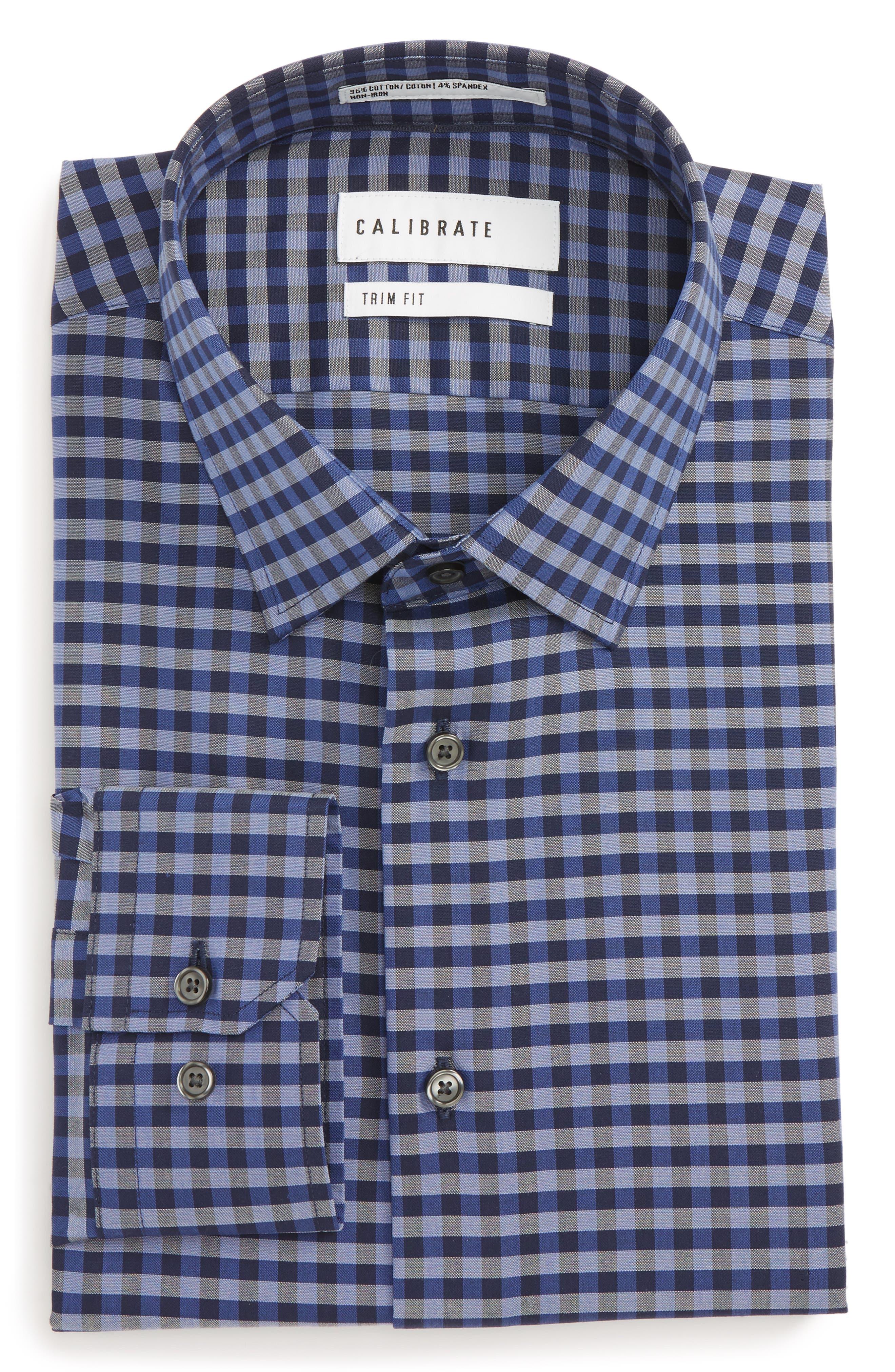 Trim Fit Stretch Non-Iron Check Dress Shirt,                         Main,                         color, 410