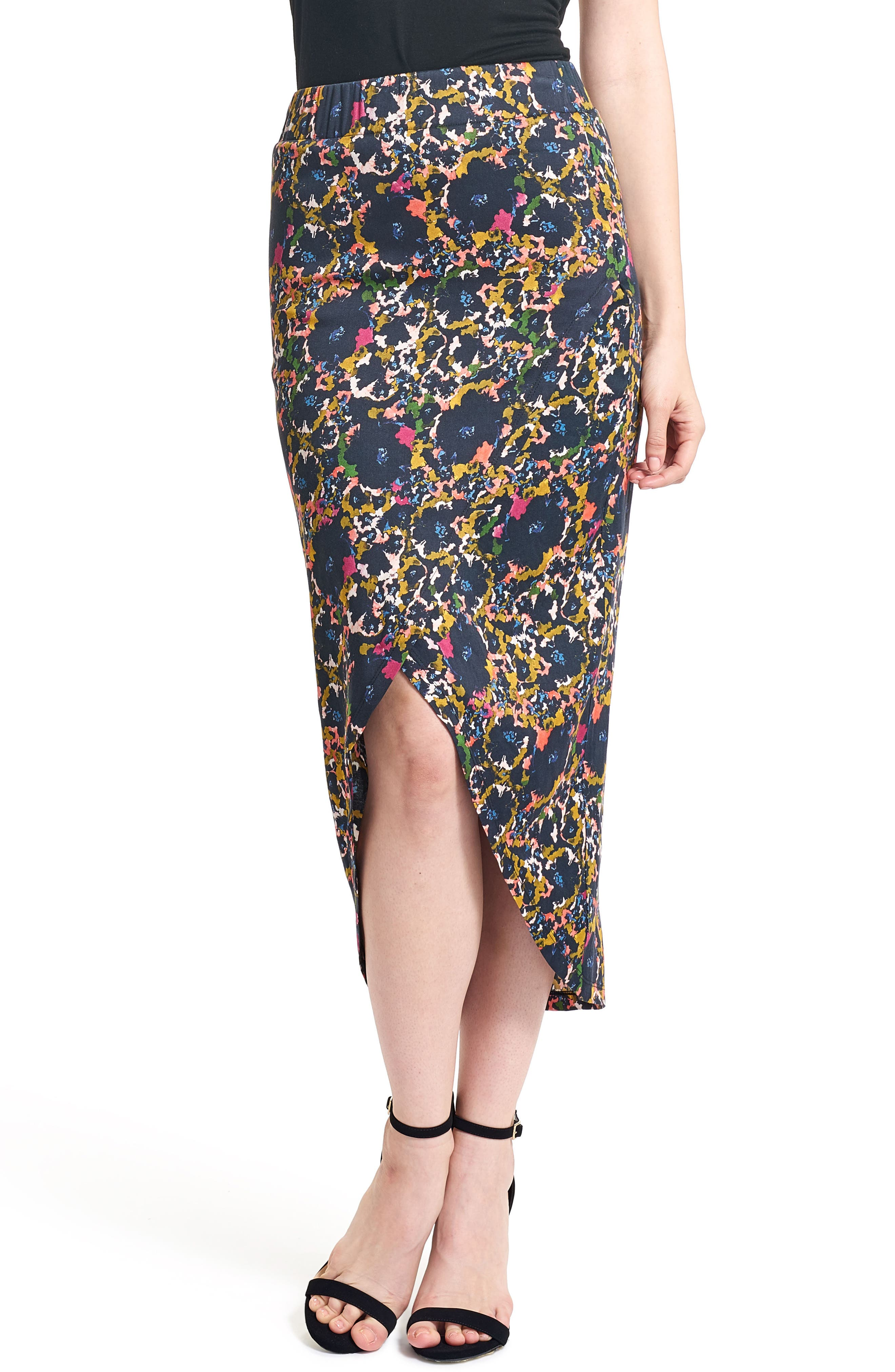 Floral Midi Skirt,                         Main,                         color, 001
