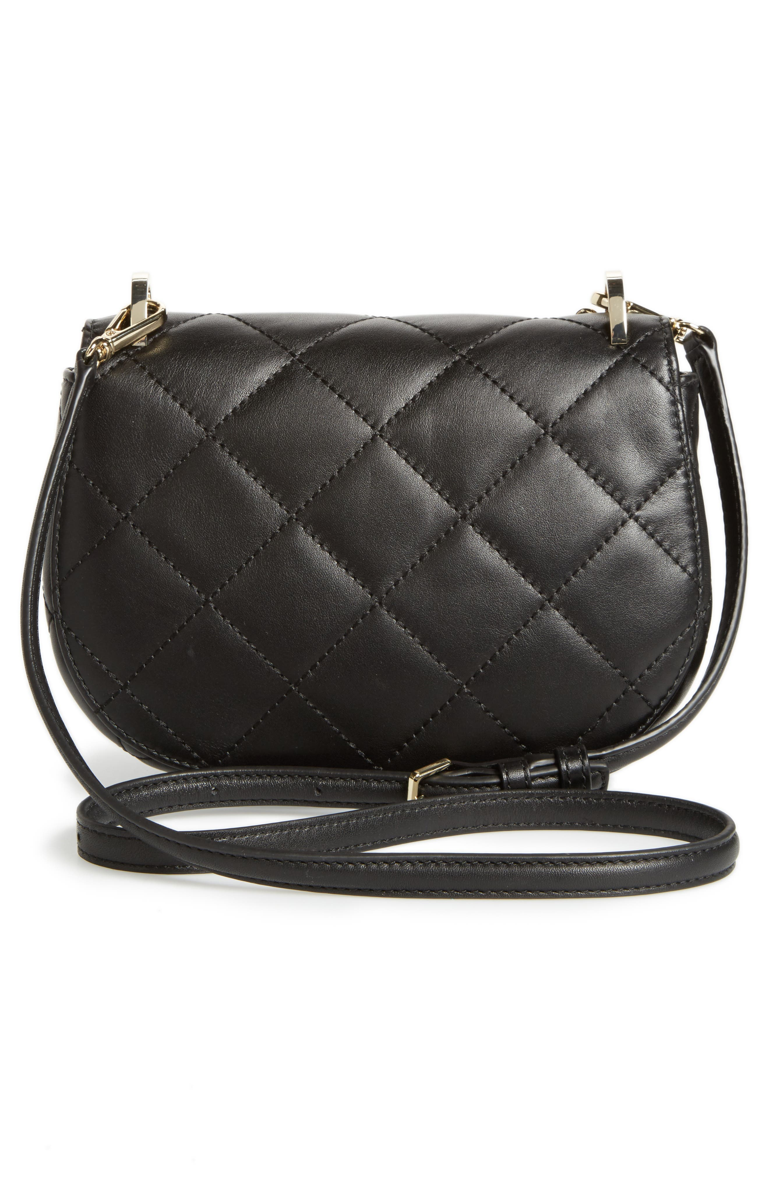 emerson place - rita quilted leather crossbody bag,                             Alternate thumbnail 3, color,                             001