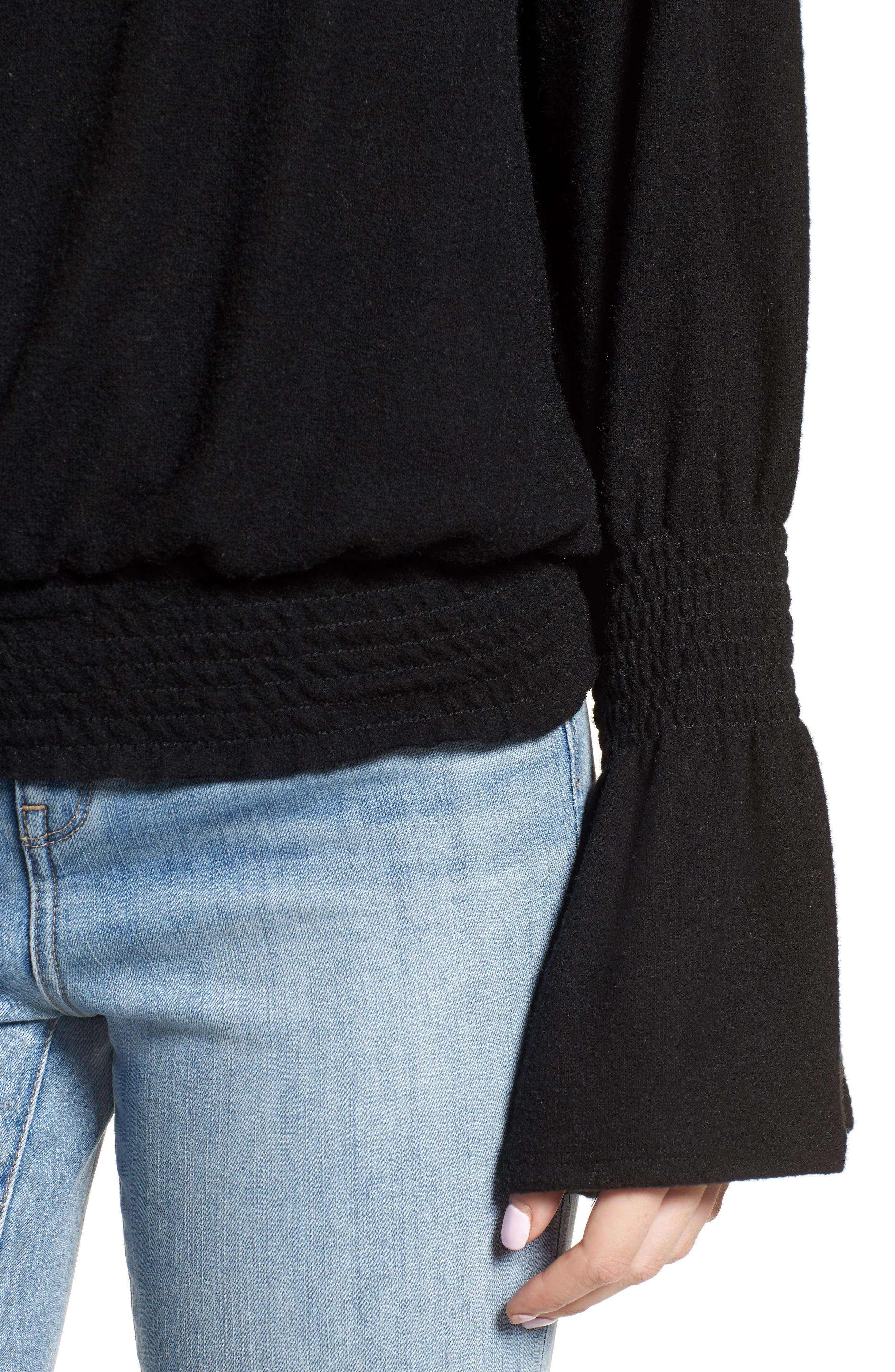 Brushed Smocked Sweatshirt,                             Alternate thumbnail 4, color,                             001