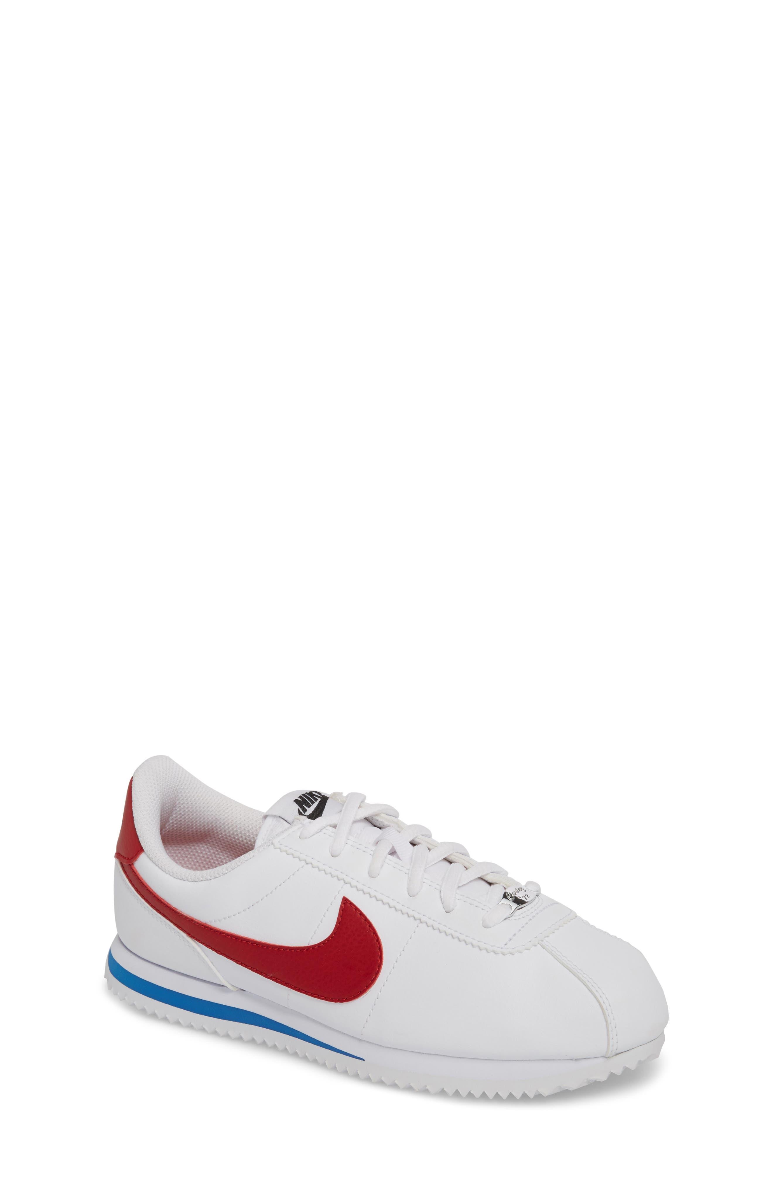 Cortez Basic SL Sneaker,                         Main,                         color, WHITE/ VARSITY RED-ROYAL-BLACK