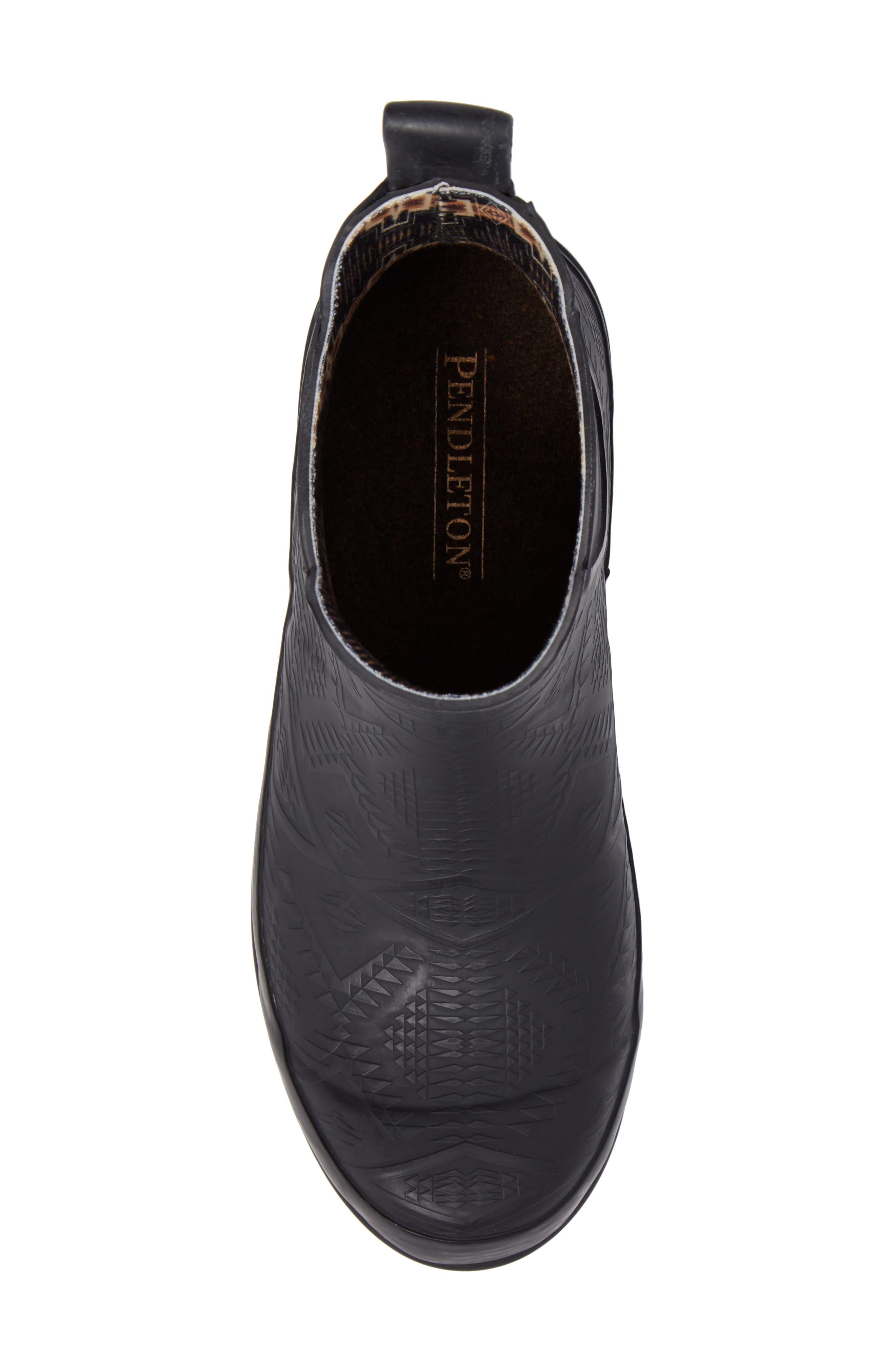 Pendleton Embossed Chelsea Rain Boot,                             Alternate thumbnail 5, color,                             BLACK