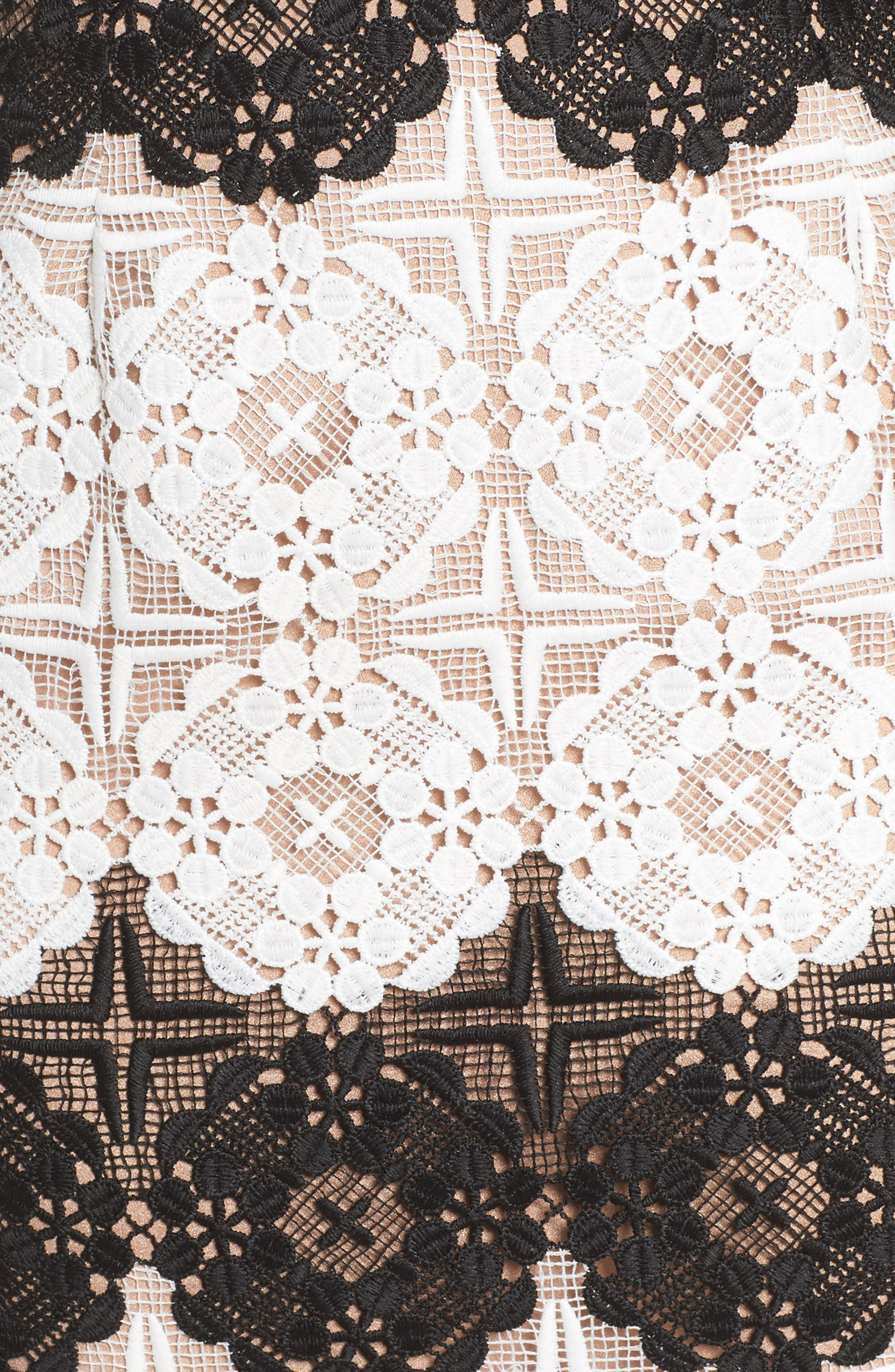 Vera Crochet Stripe Sheath Dress,                             Alternate thumbnail 6, color,                             011