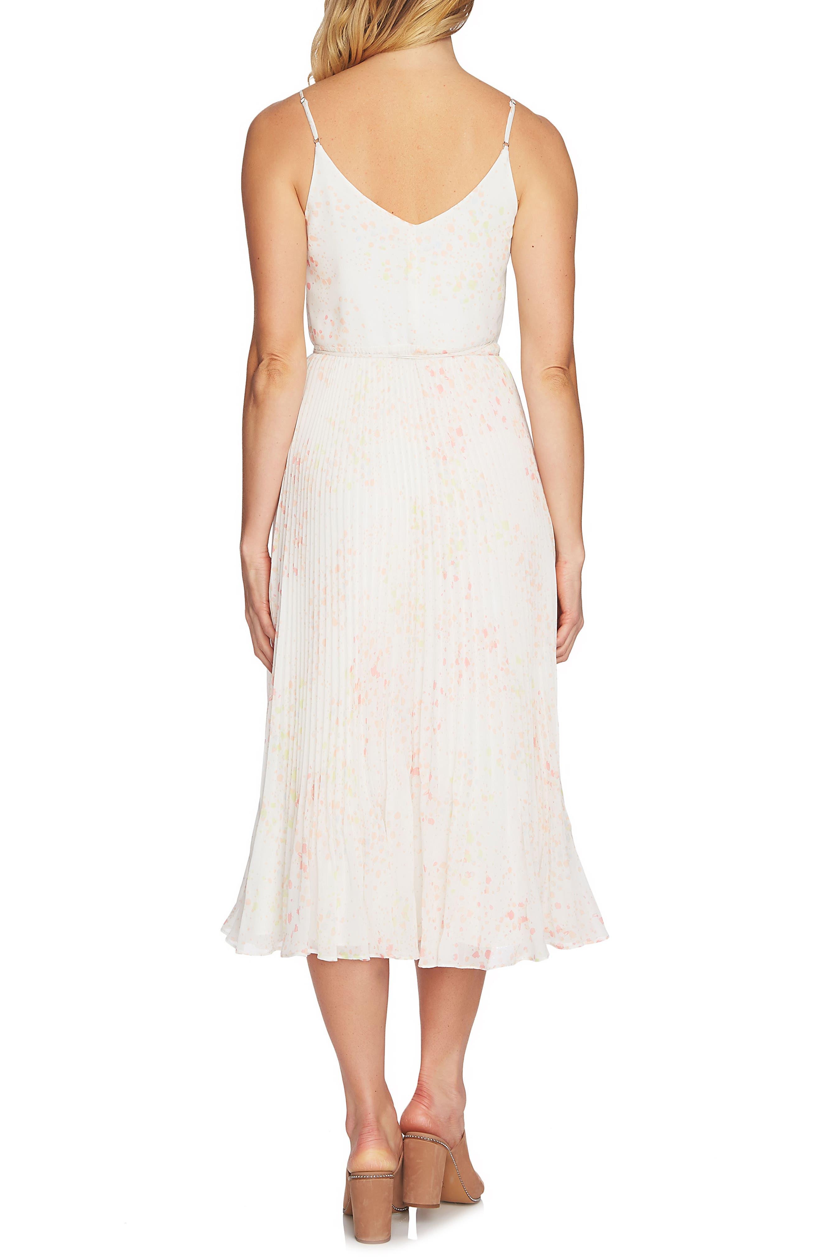 Print Pleated Wrap Midi Dress,                             Alternate thumbnail 2, color,                             103