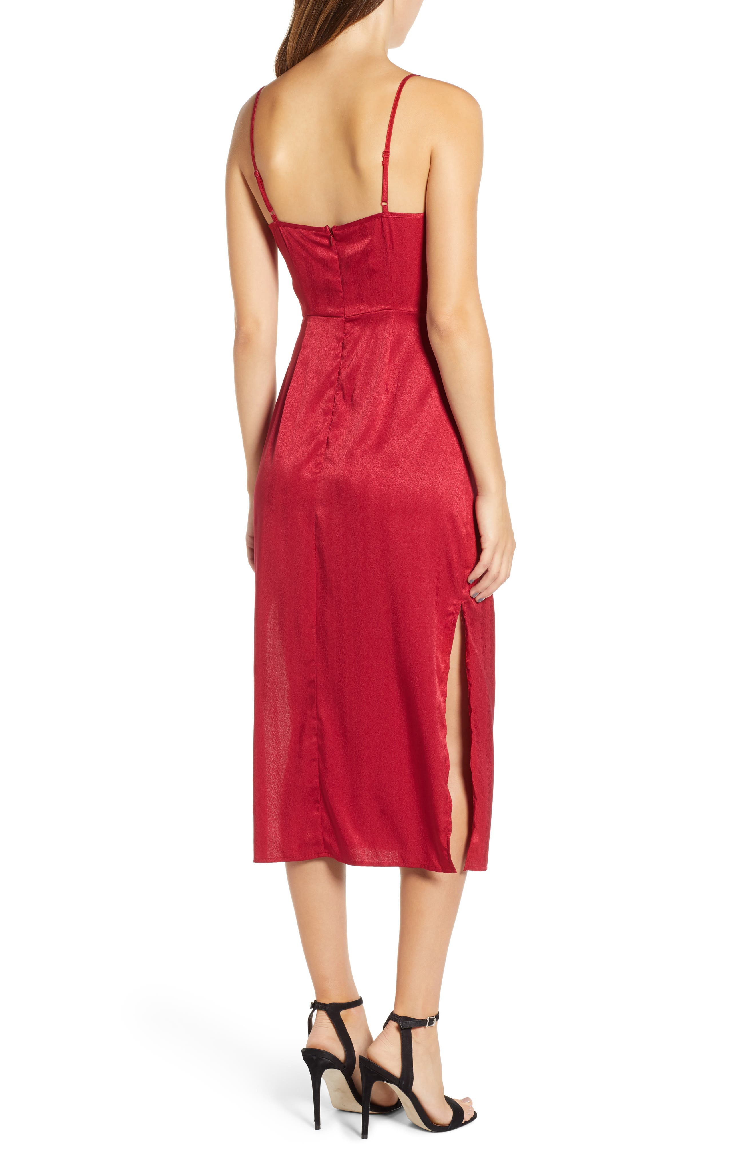 Lotti Cowl Neck Midi Dress,                             Alternate thumbnail 2, color,                             CHERRY