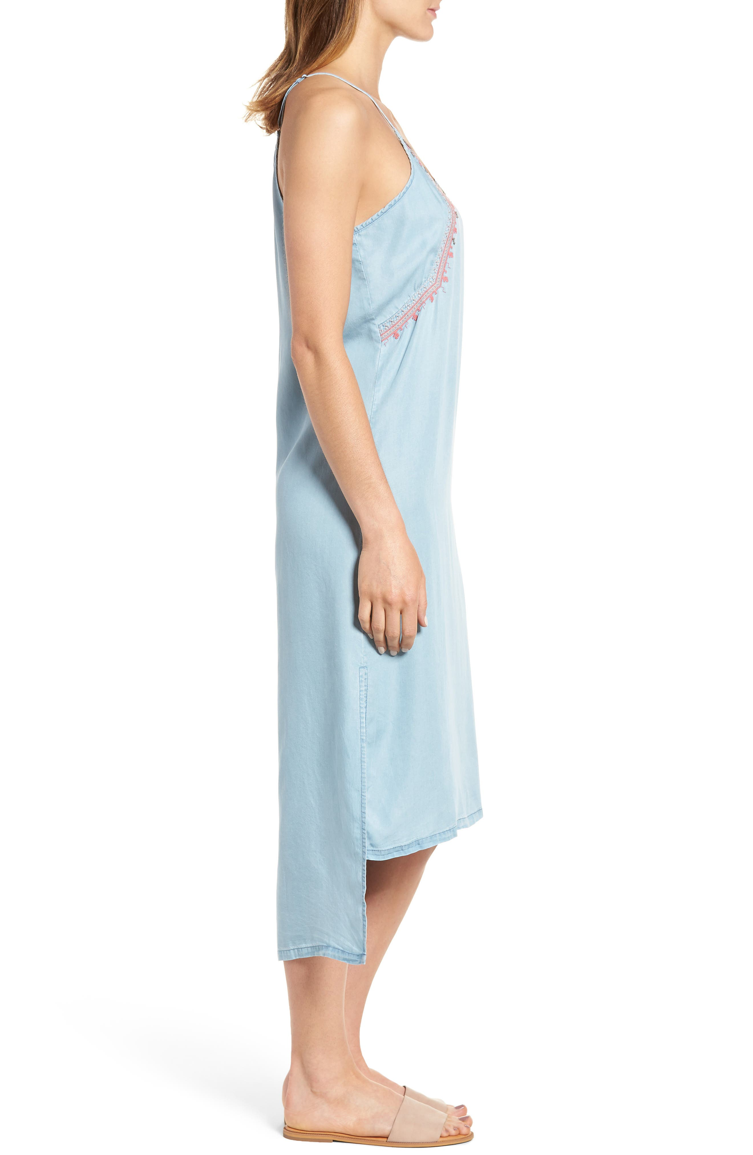 Embellished High/Low Chambray Slipdress,                             Alternate thumbnail 3, color,                             400