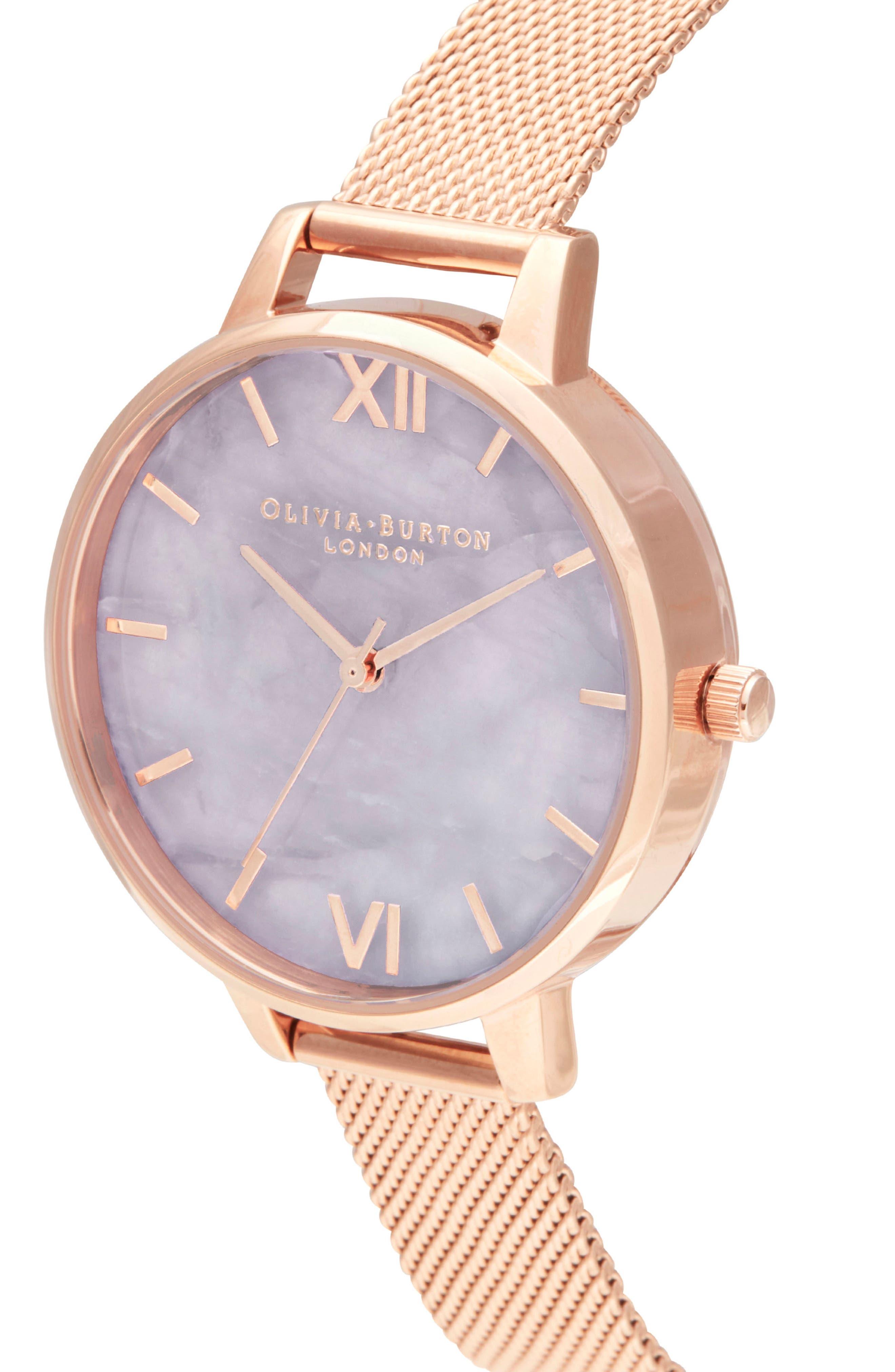 Bracelet Watch, 30mm,                             Alternate thumbnail 4, color,                             ROSE GOLD/ AMETHYST/ ROSE GOLD
