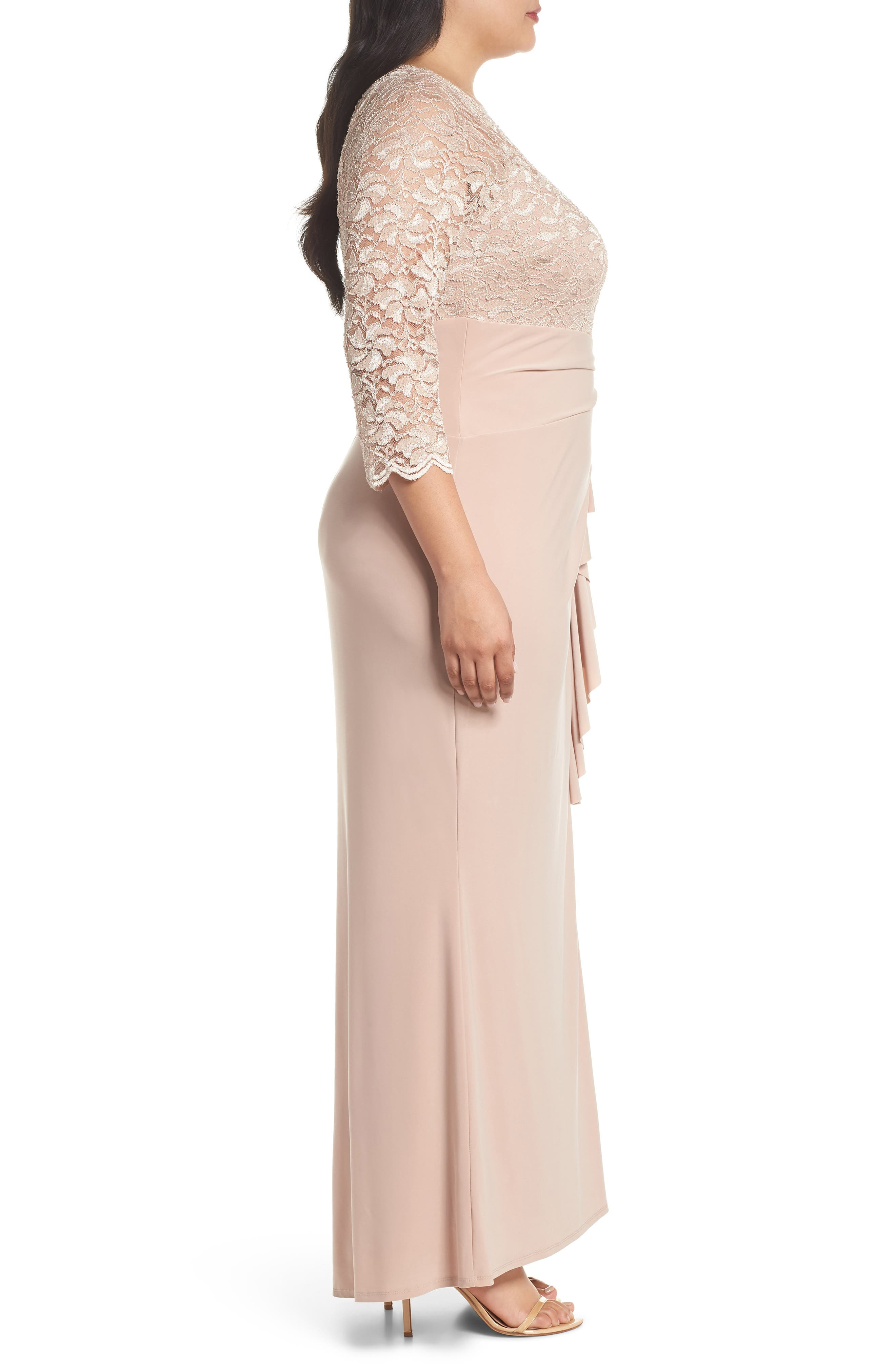 Cascade Lace & Jersey Gown,                             Alternate thumbnail 3, color,                             250