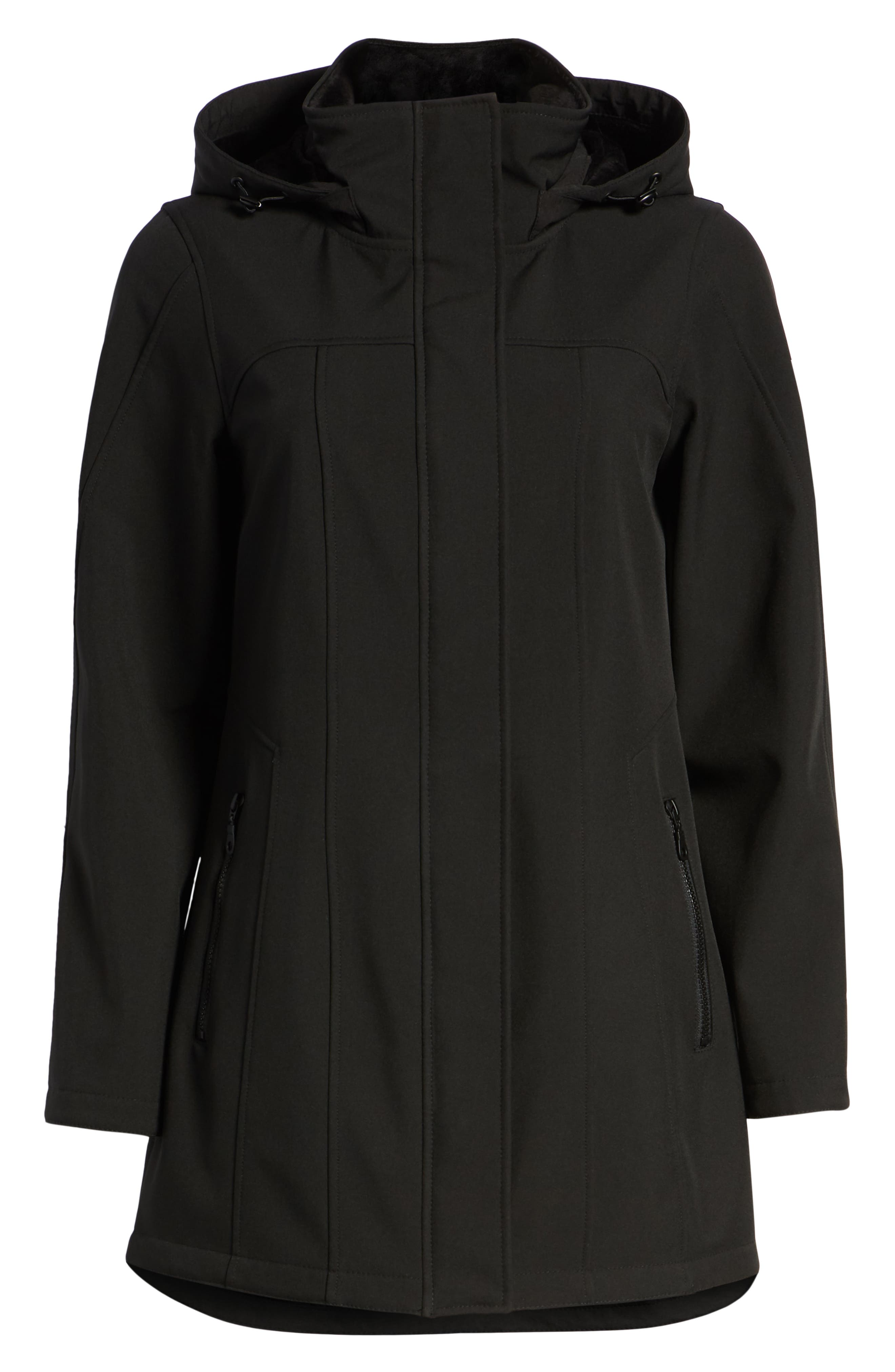 Hooded Soft Shell Jacket,                             Alternate thumbnail 6, color,                             BLACK