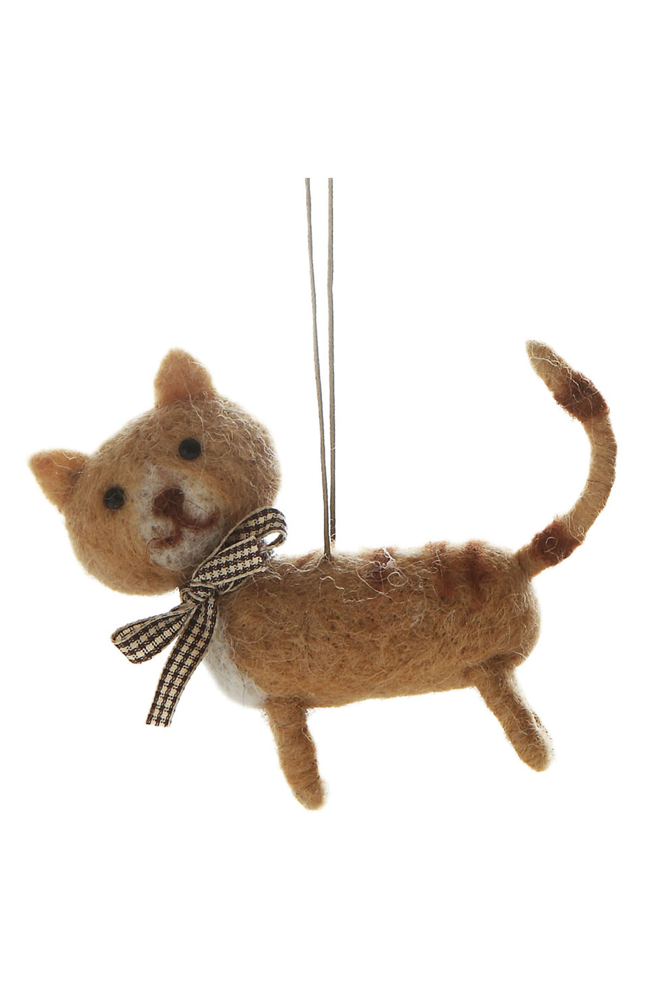 Kitten Felted Wool Ornament,                         Main,                         color, 200