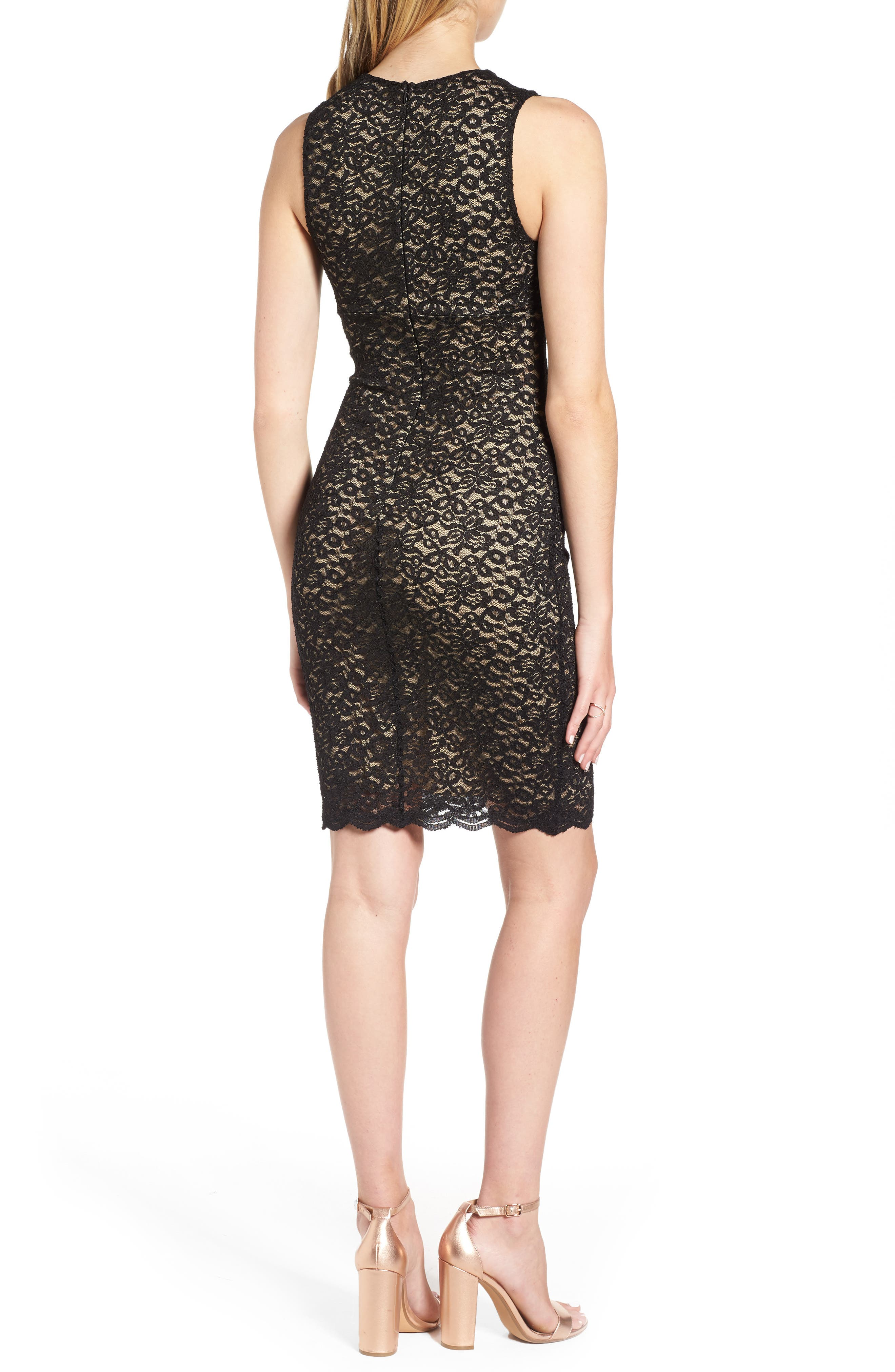 Lace Body Con Dress,                             Alternate thumbnail 2, color,                             001
