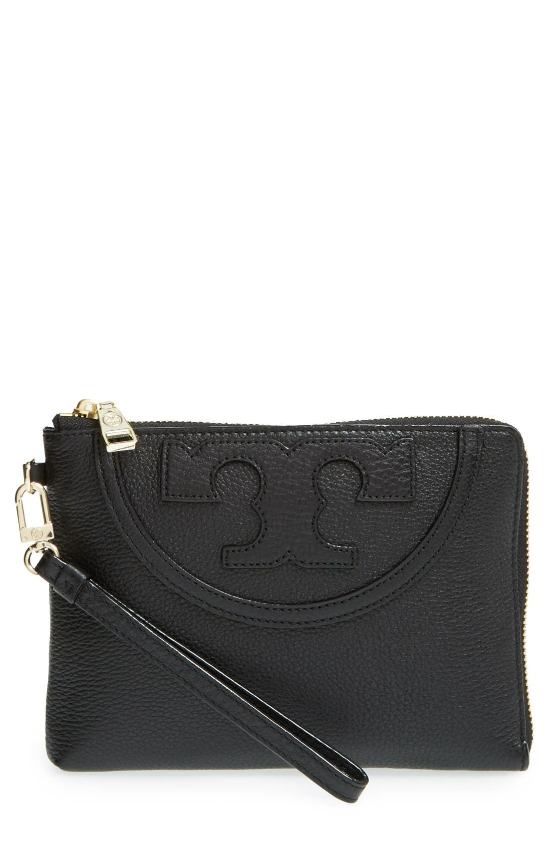 'Large All-T' Leather Wristlet, Main, color, 001