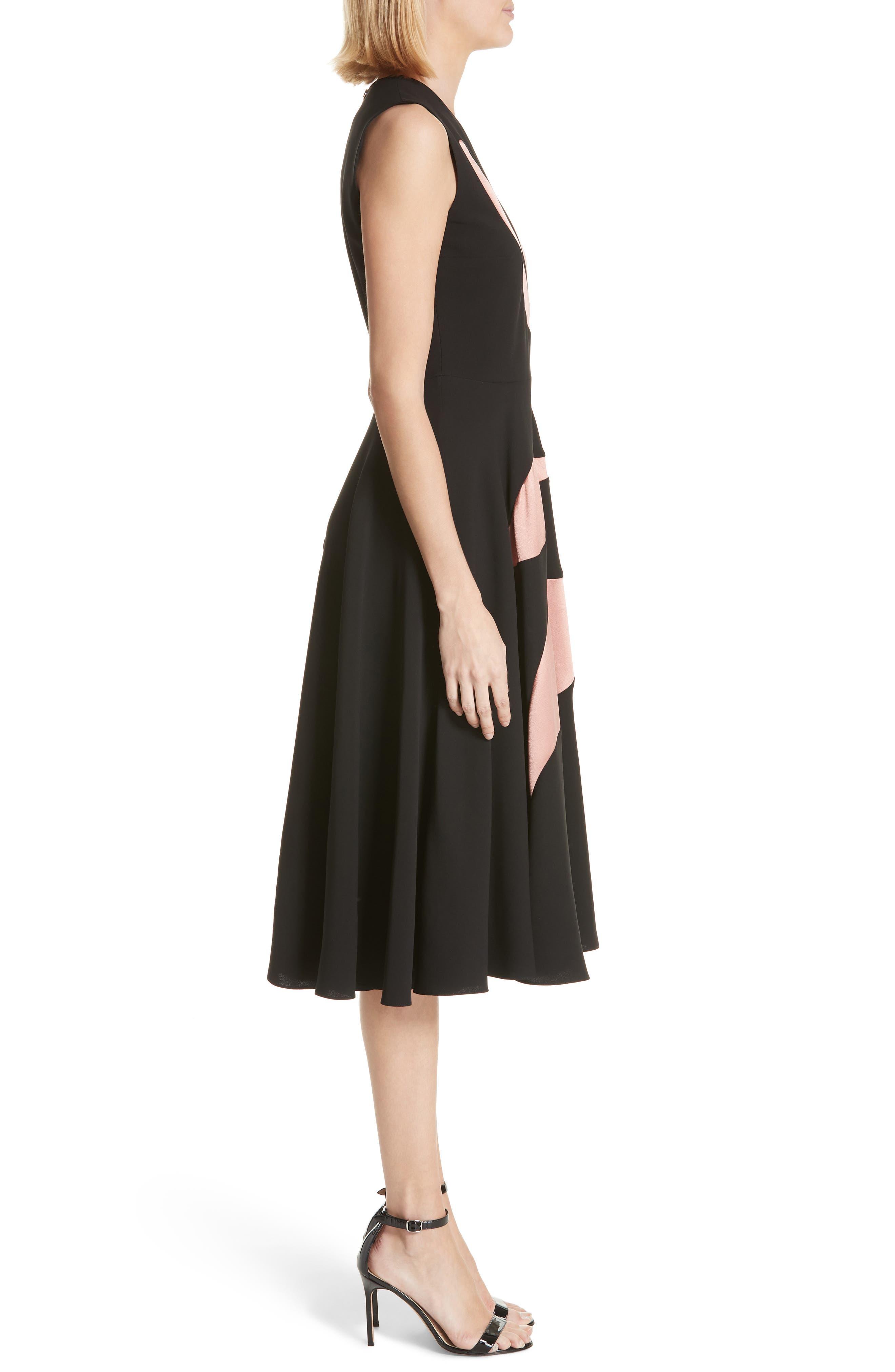 Ilia Floral Inlay Silk Blend Dress,                             Alternate thumbnail 3, color,                             001
