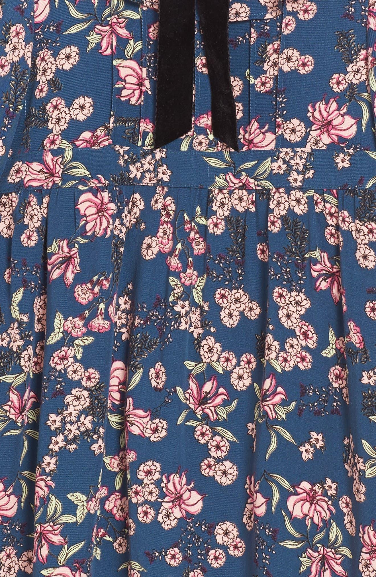 For Love & Lemons Juniper Floral Bell Sleeve Dress,                             Alternate thumbnail 3, color,                             410