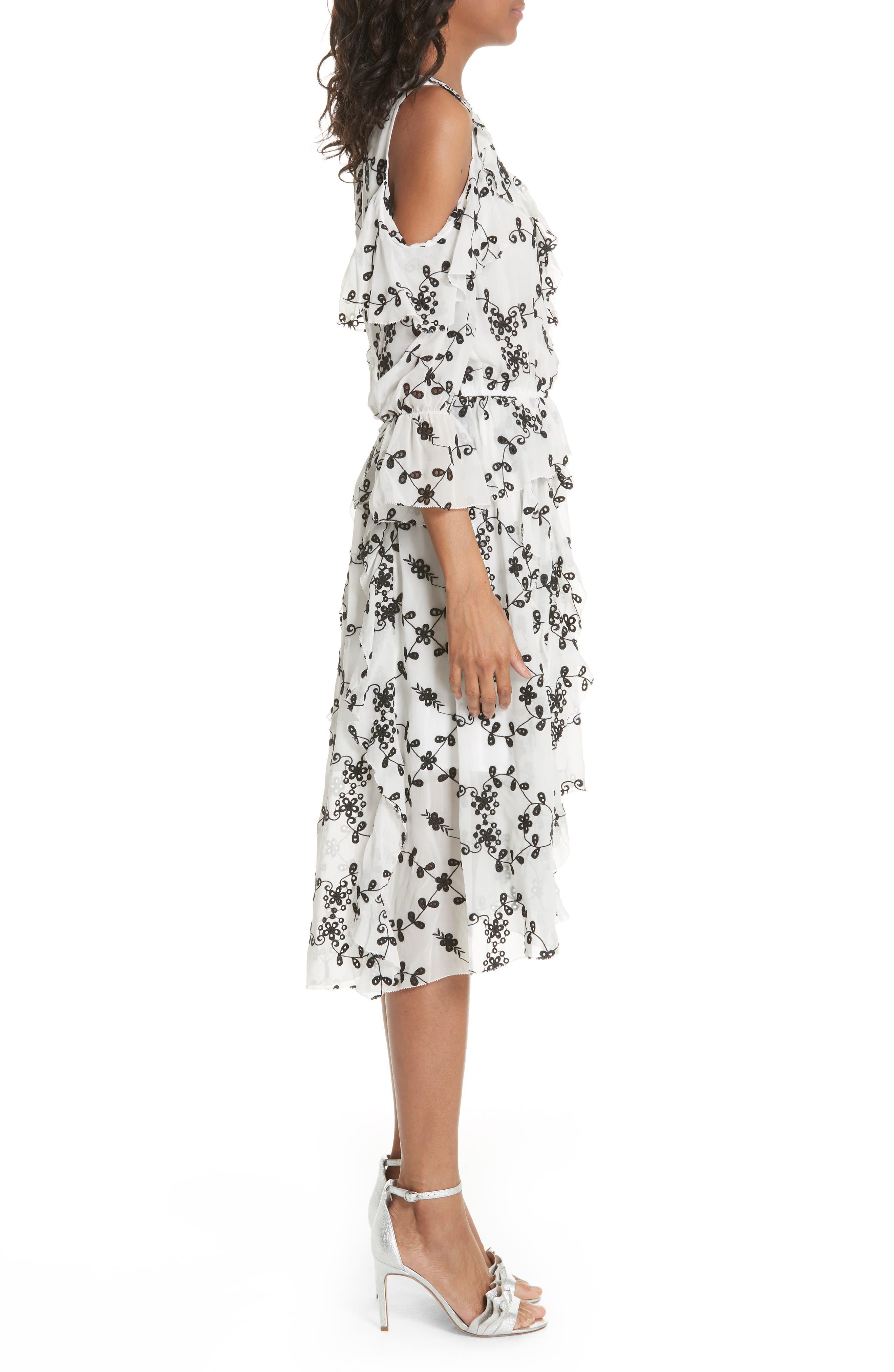 Alpheus Cold Shoulder Ruffled Silk Dress,                             Alternate thumbnail 6, color,