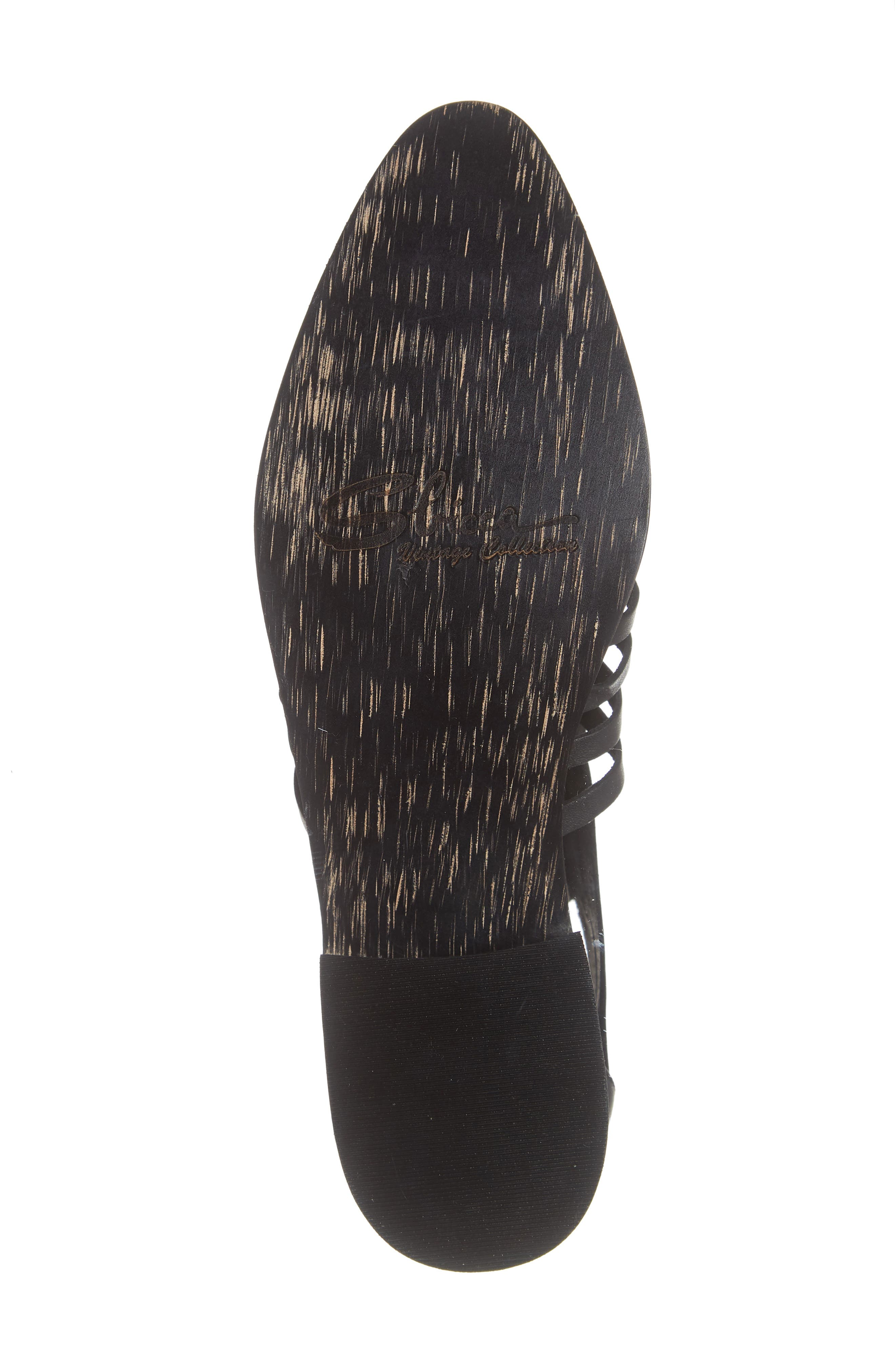 Rosabell Woven Bootie,                             Alternate thumbnail 6, color,                             BLACK LEATHER
