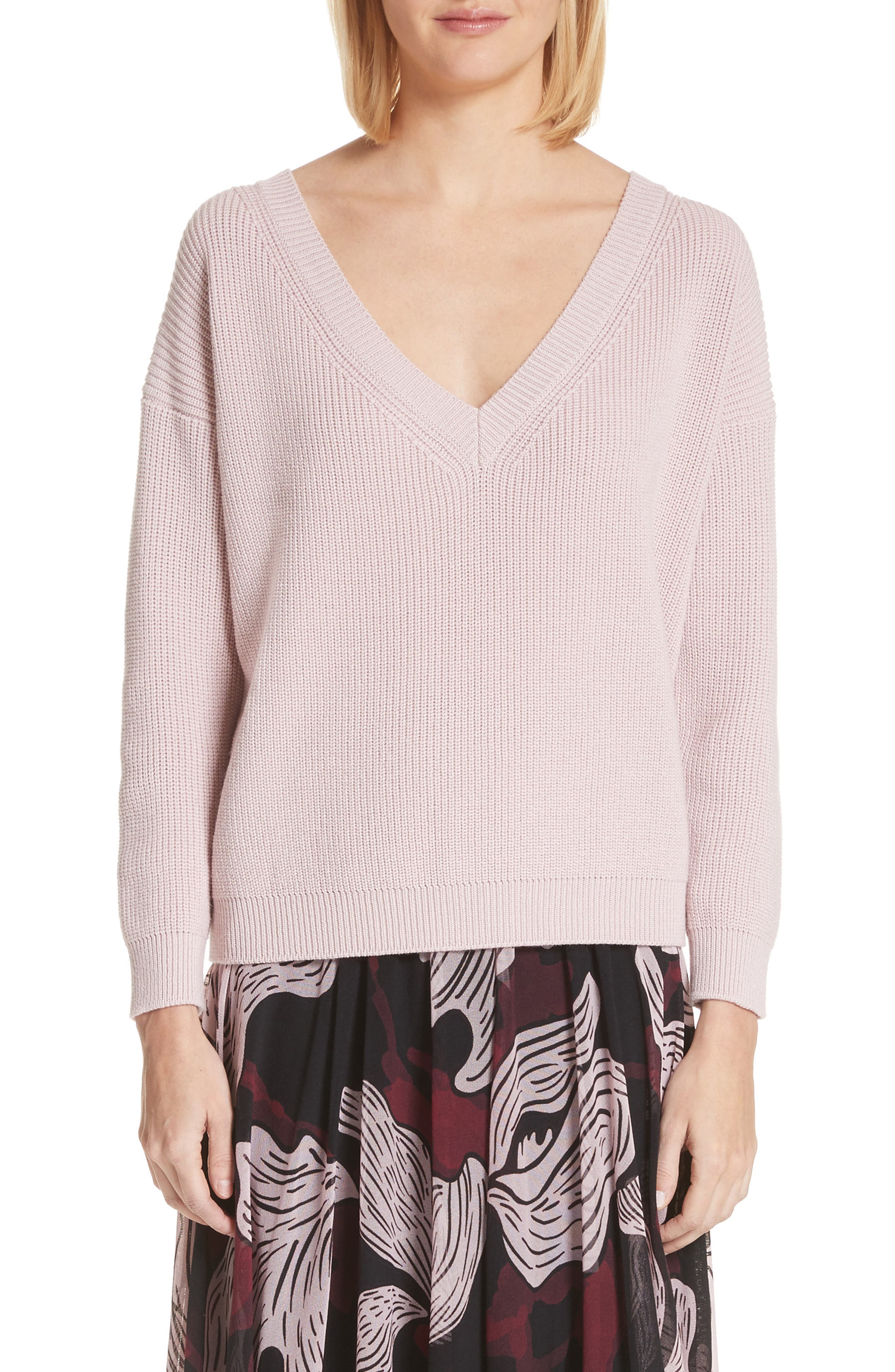 V-Neck Wool Sweater,                             Main thumbnail 1, color,                             686
