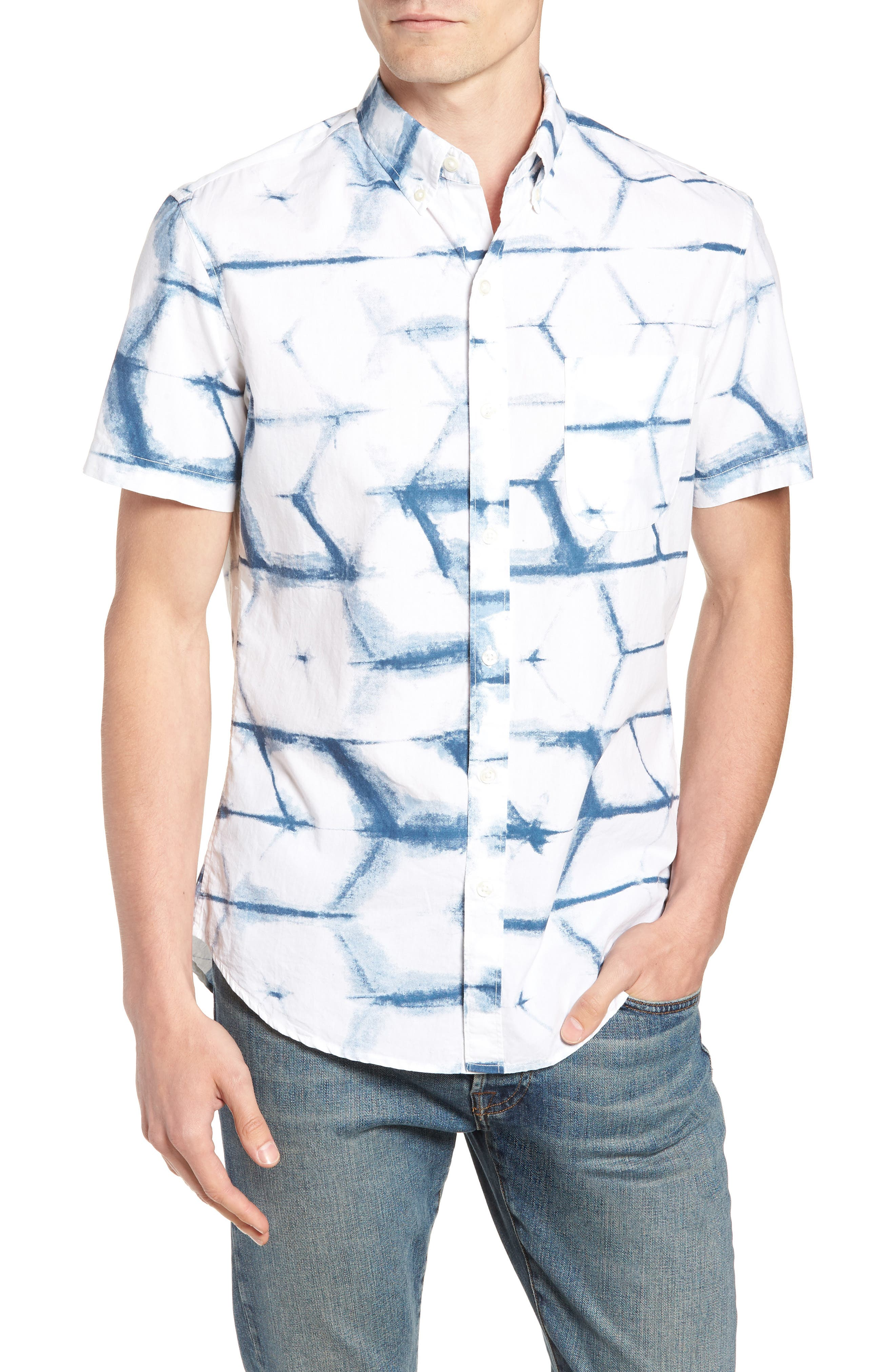 Riviera Slim Fit Print Sport Shirt,                             Main thumbnail 1, color,