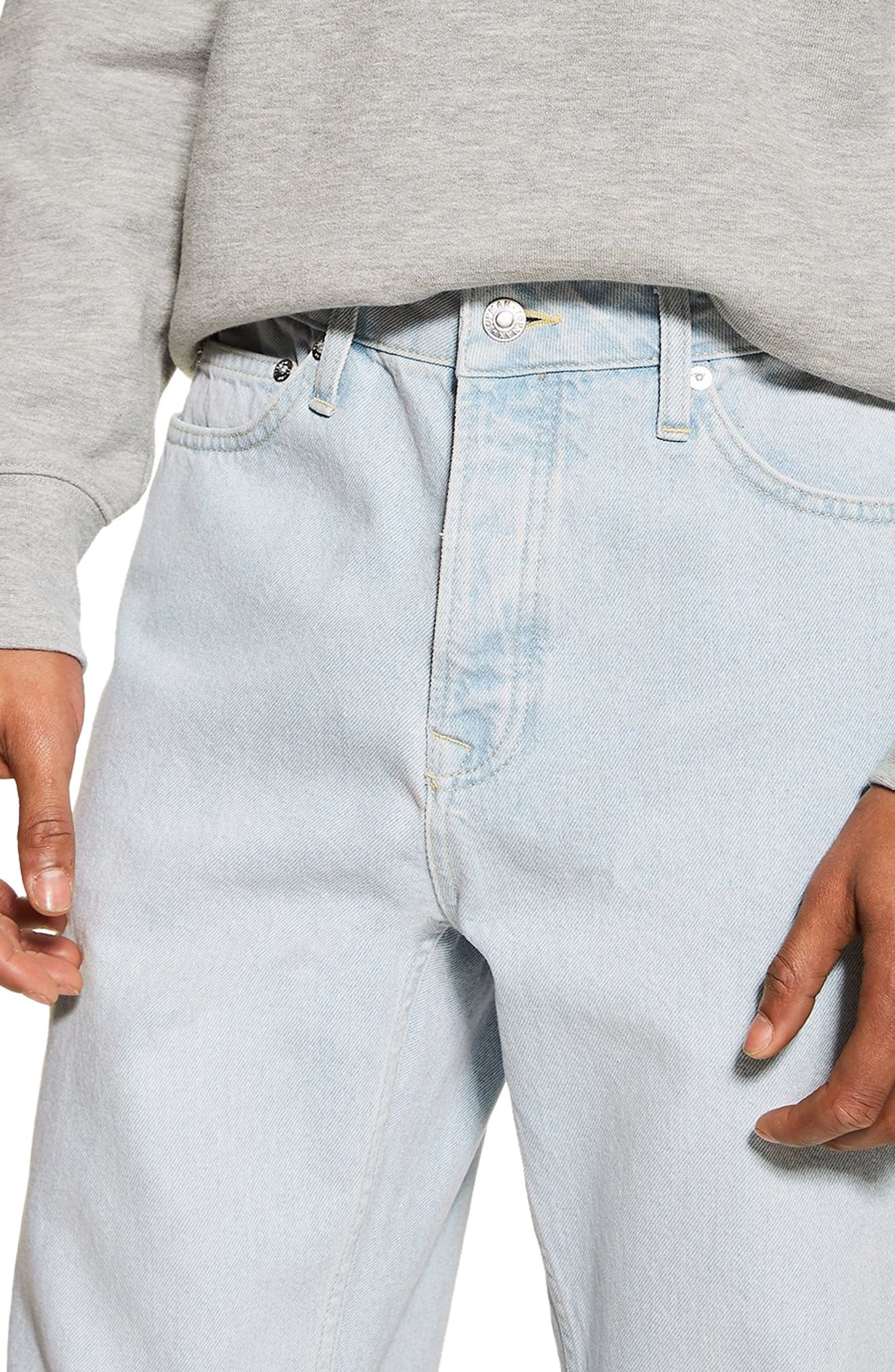 TOPMAN,                             Tapered Fit Jeans,                             Alternate thumbnail 3, color,                             BLUE